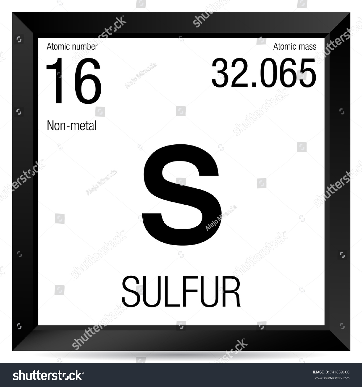 Sulfur Symbol Element Number 16 Periodic Stock Vector Royalty Free