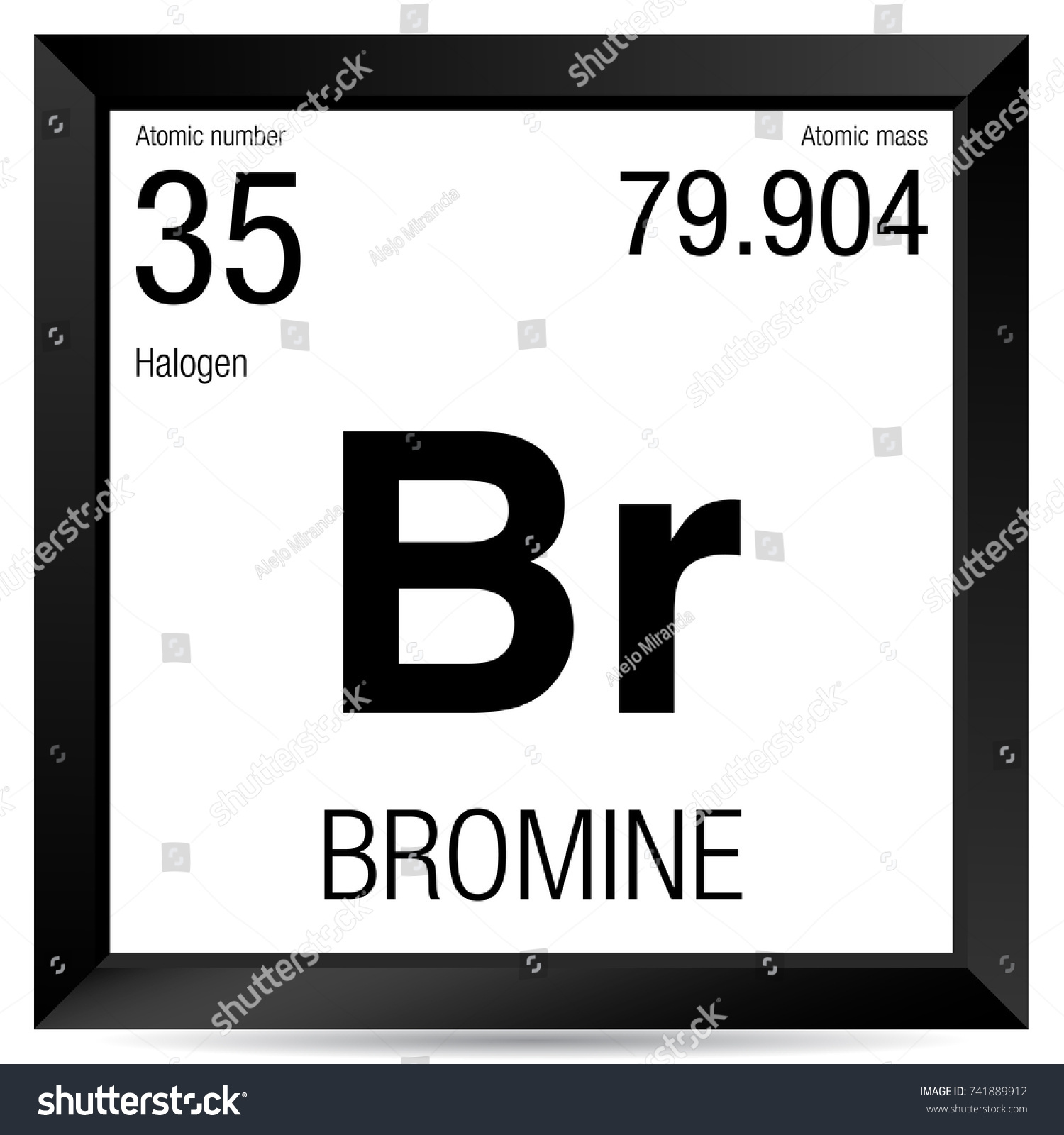 Bromine Symbol Element Number 35 Periodic Stock Vector Royalty Free
