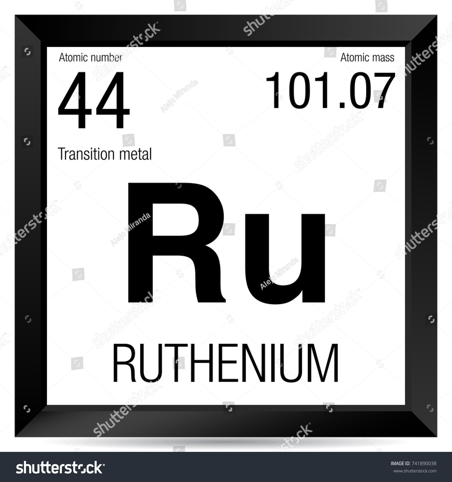 Ruthenium Symbol Element Number 44 Periodic Stock Vector Hd Royalty