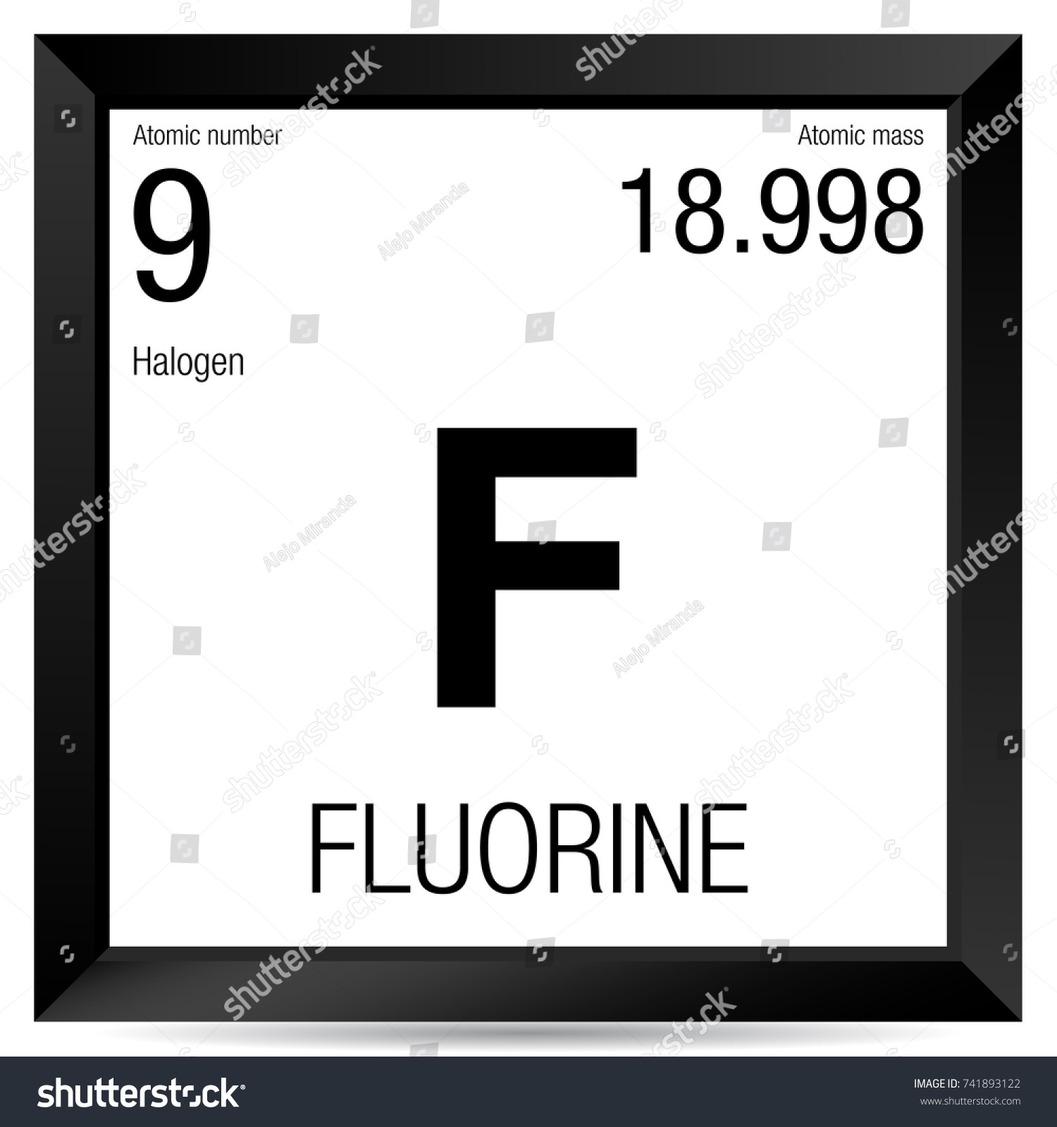 Fluorine symbol element number 9 periodic stock vector 741893122 fluorine symbol element number 9 of the periodic table of the elements chemistry gamestrikefo Gallery