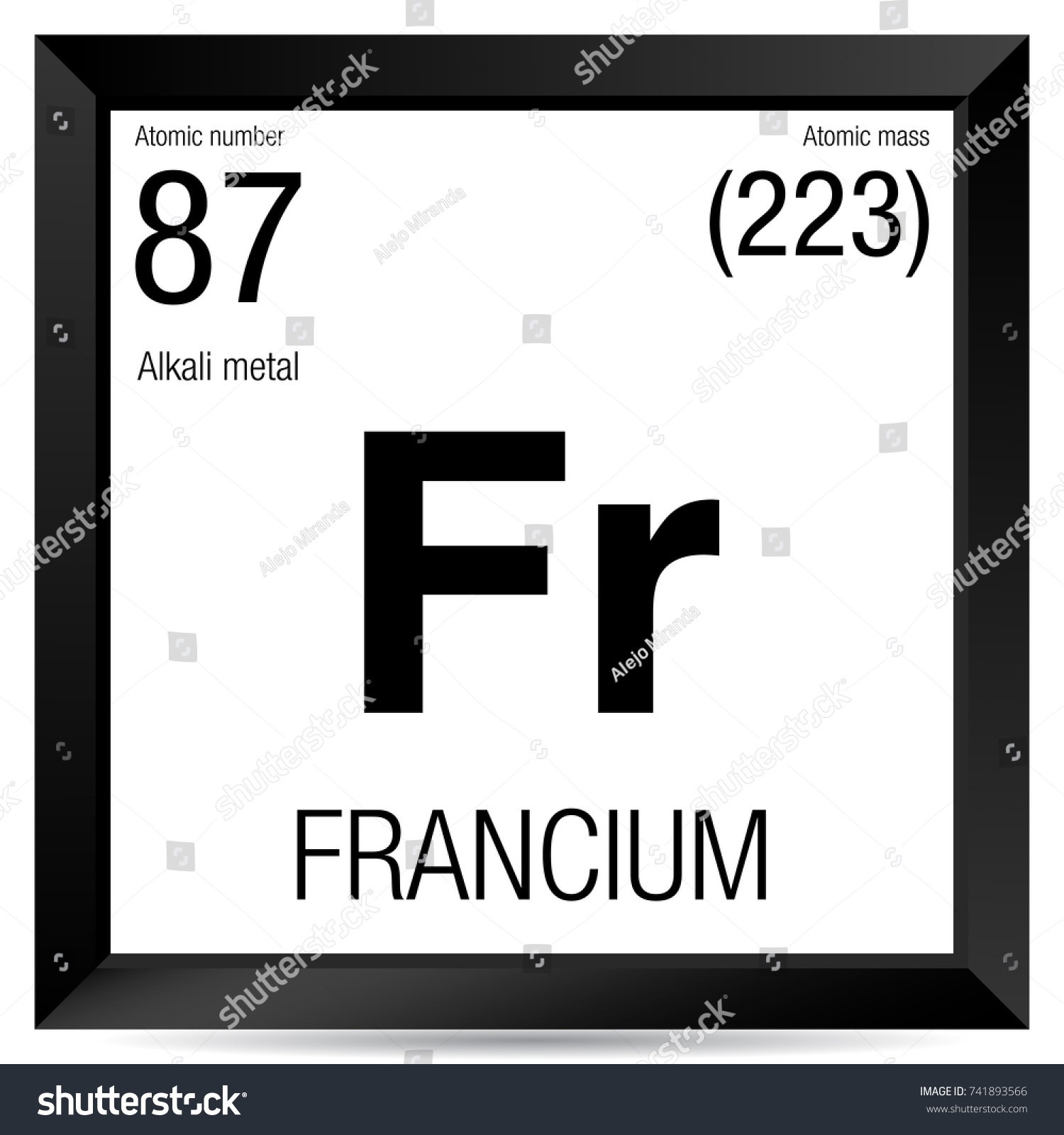 Francium Symbol Element Number 87 Periodic Stock Vector Royalty