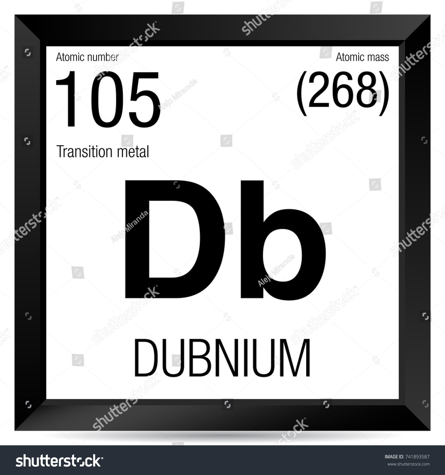 Dubnium Symbol Element Number 105 Periodic Stock Vector Royalty