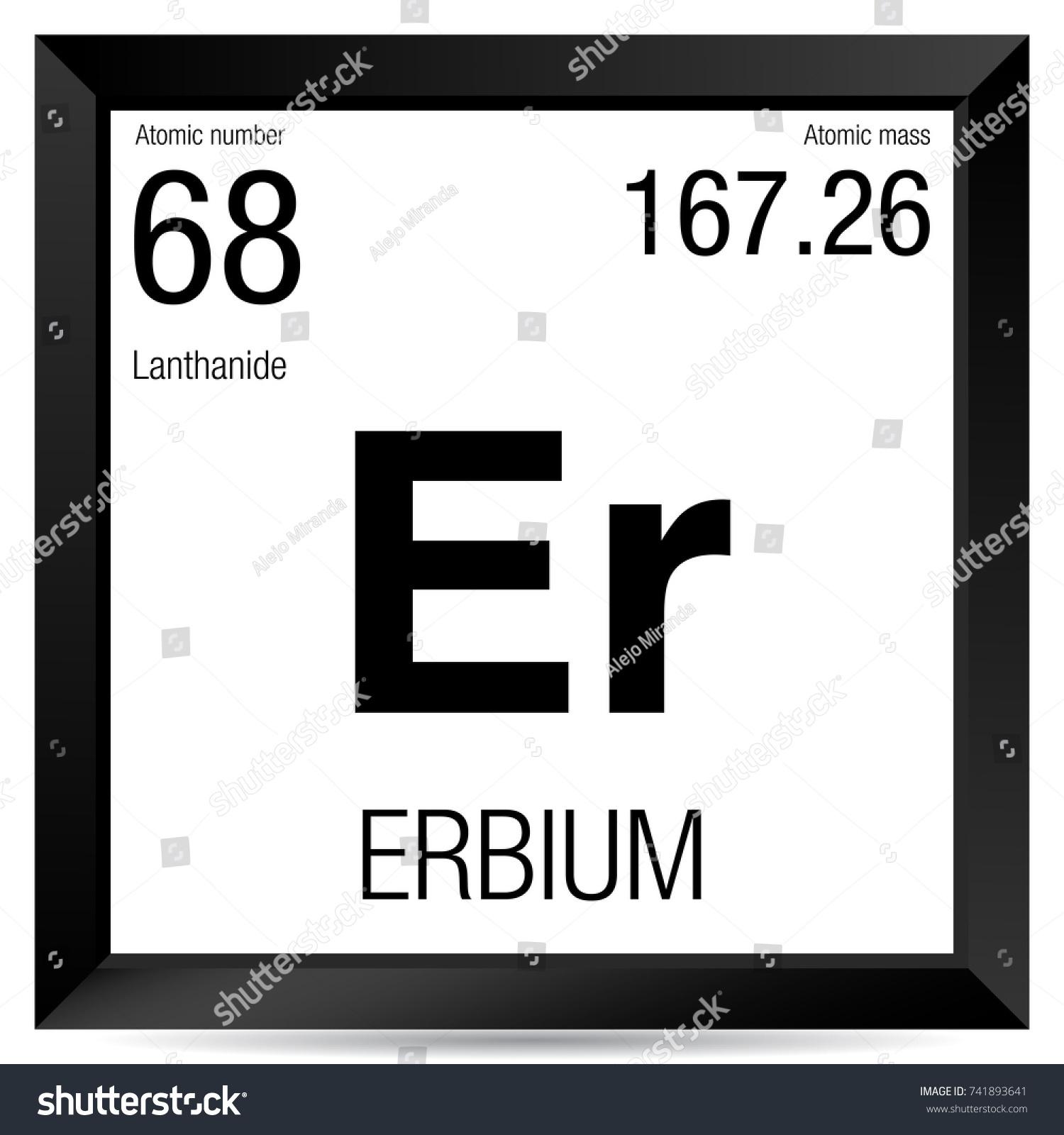 Erbium Symbol Element Number 68 Periodic Stock Vector Royalty Free