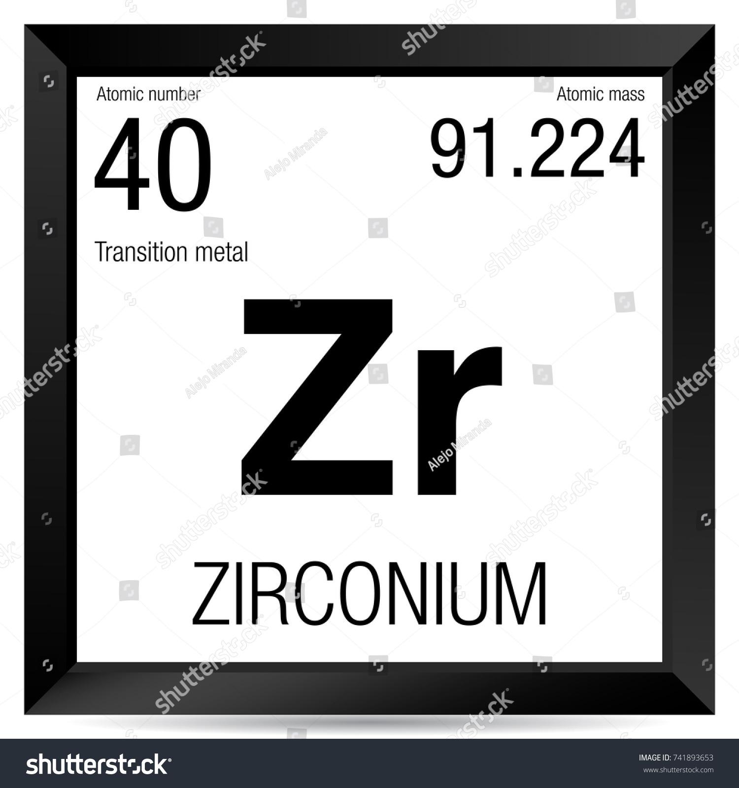 Zirconium Symbol Element Number 40 Periodic Stock Vector Royalty