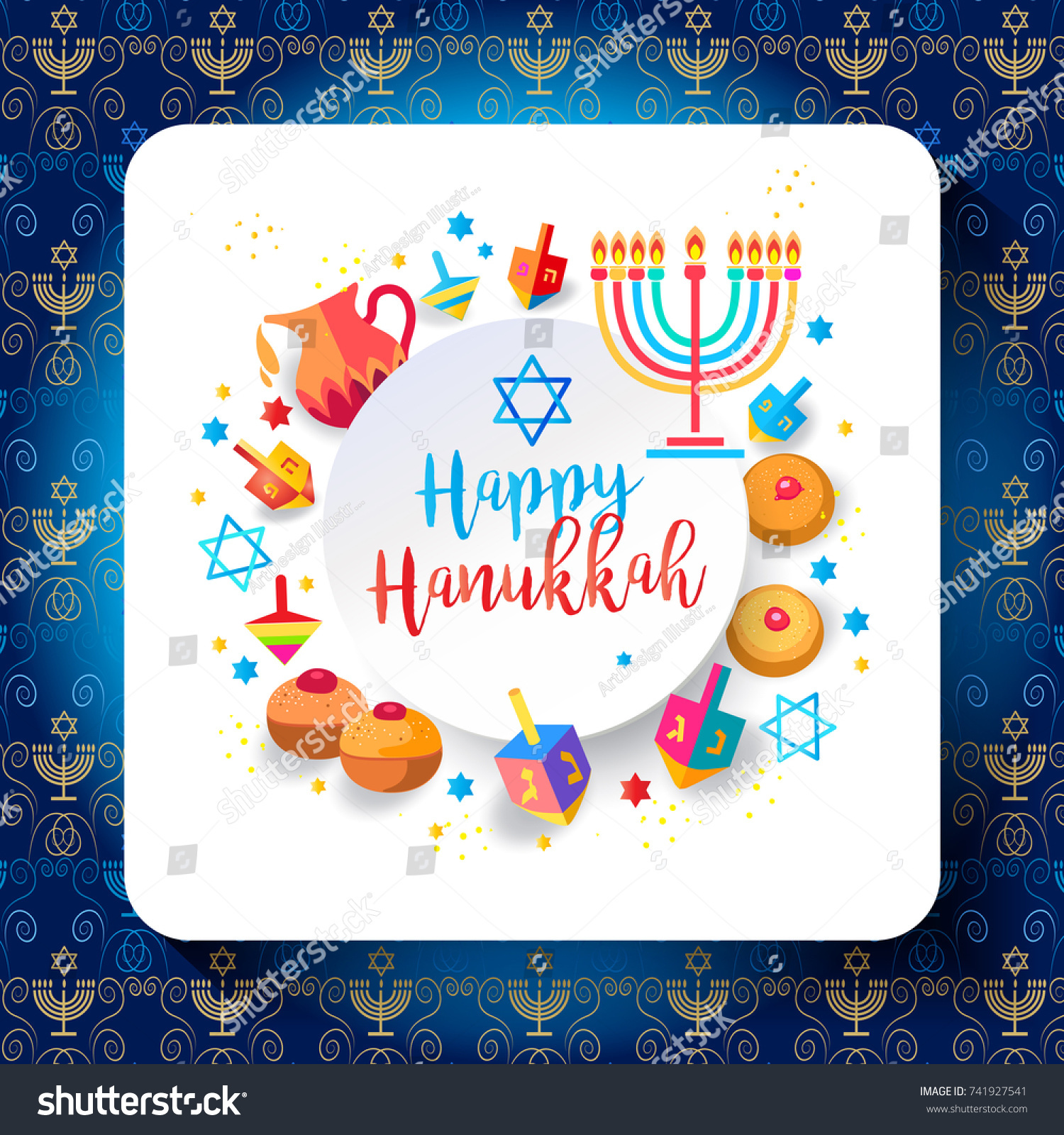 Jewish holiday hanukkah greeting card traditional stock vector jewish holiday hanukkah greeting card traditional chanukah symbols wooden dreidels spinning top kristyandbryce Images