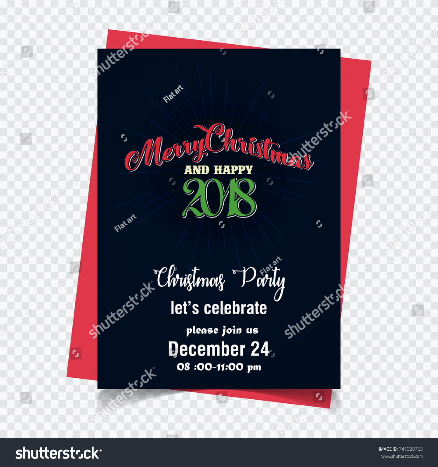 New Creative Merry Christmas Happy 2018 Stock Vector 741928765 ...