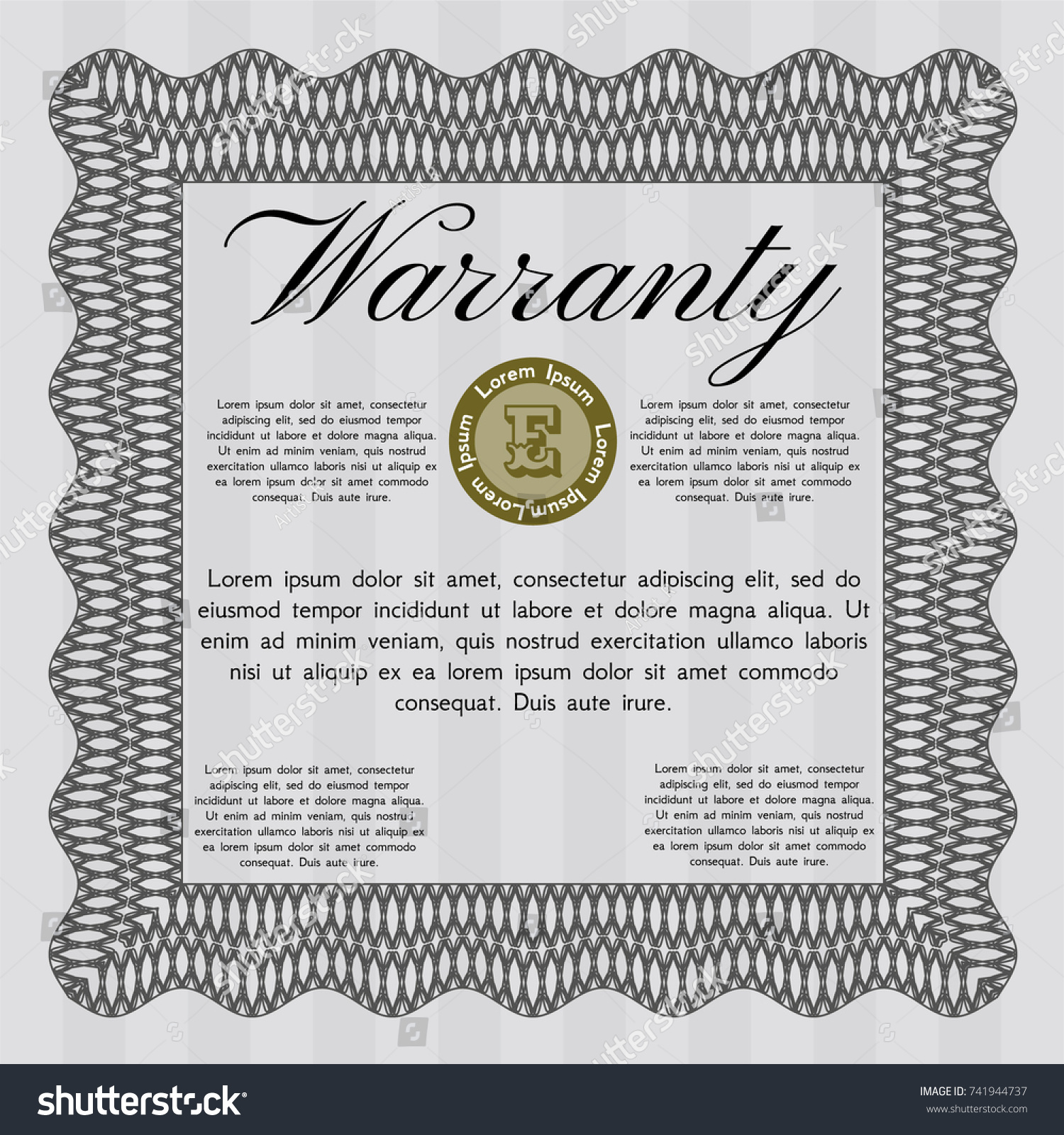 Grey formal warranty certificate template complex stock vector grey formal warranty certificate template complex stock vector 741944737 shutterstock 1betcityfo Choice Image