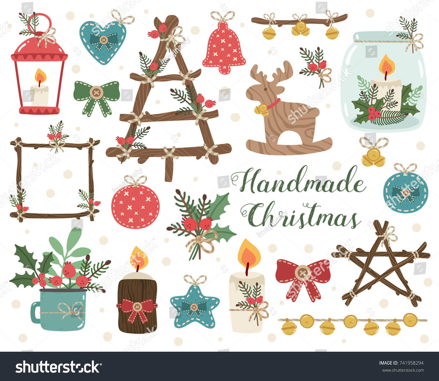 Vector Set Of Handmade Craft Decorations Candlesticks Toys Jingle Handcrafts Rustic