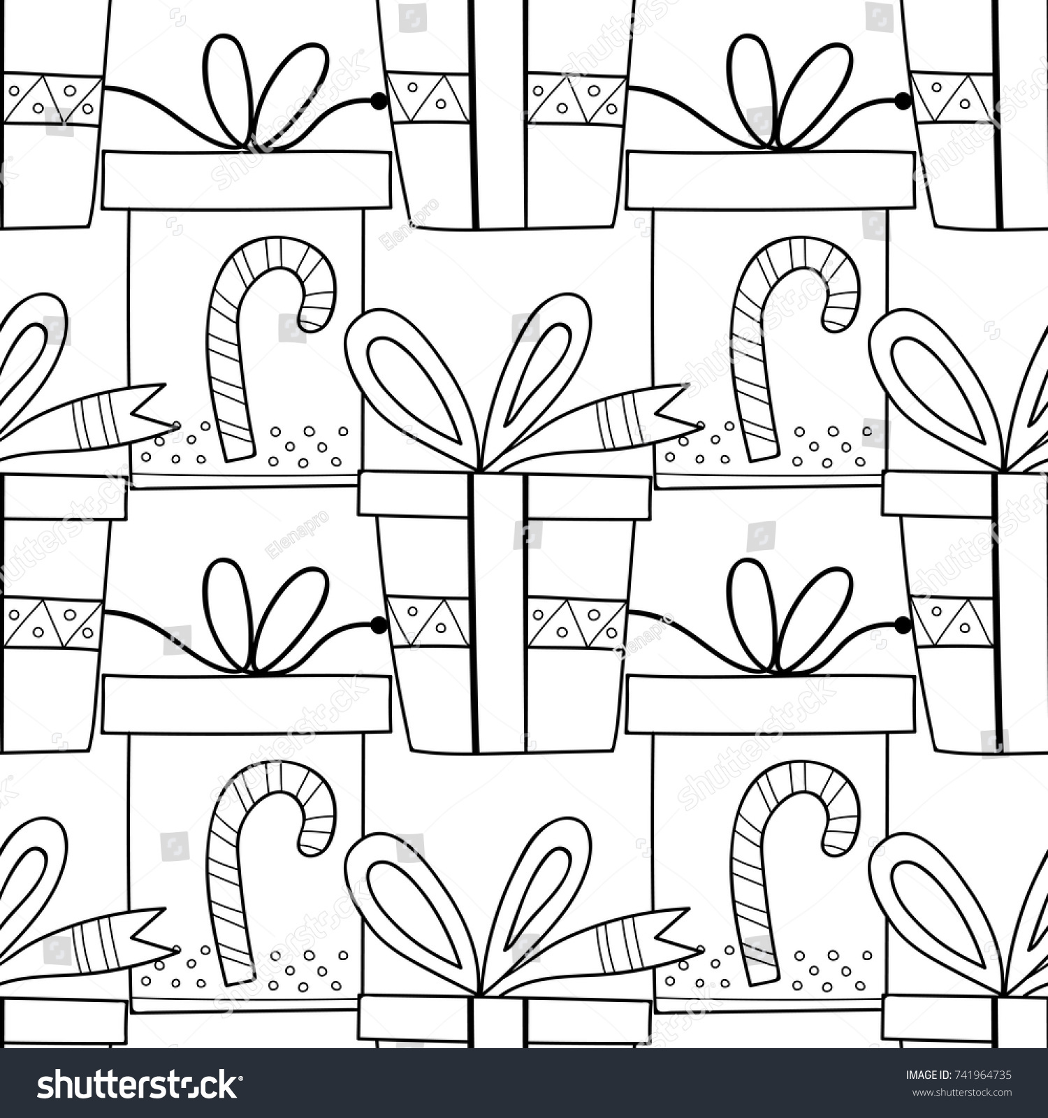 Gift Boxes Decors Ornaments Coloring Books Stock Vector 741964735 ...