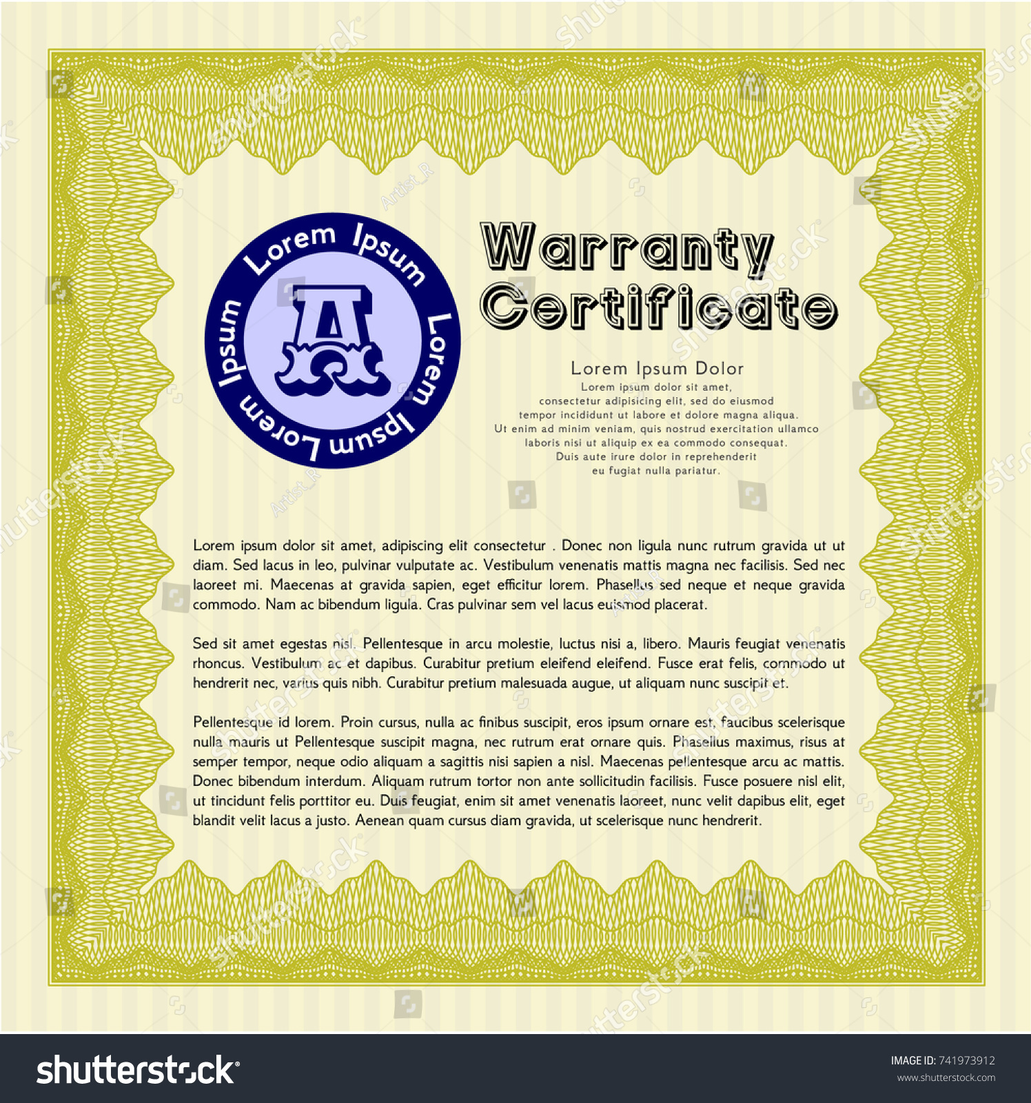 Yellow formal warranty certificate template lovely stock vector yellow formal warranty certificate template lovely design vector illustration easy to print 1betcityfo Choice Image