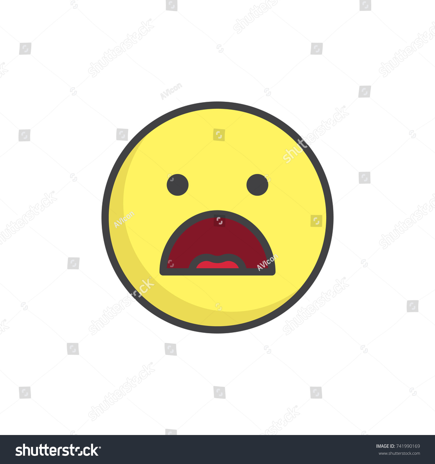 Frowning face emoticon open mouth filled stock vector 741990169 frowning face emoticon with open mouth filled outline icon line vector sign linear colorful buycottarizona Gallery