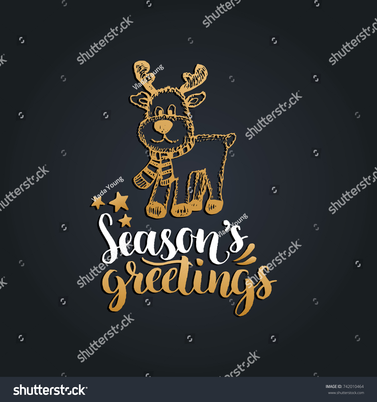Seasons Greetings Lettering On Black Background Stock Vector
