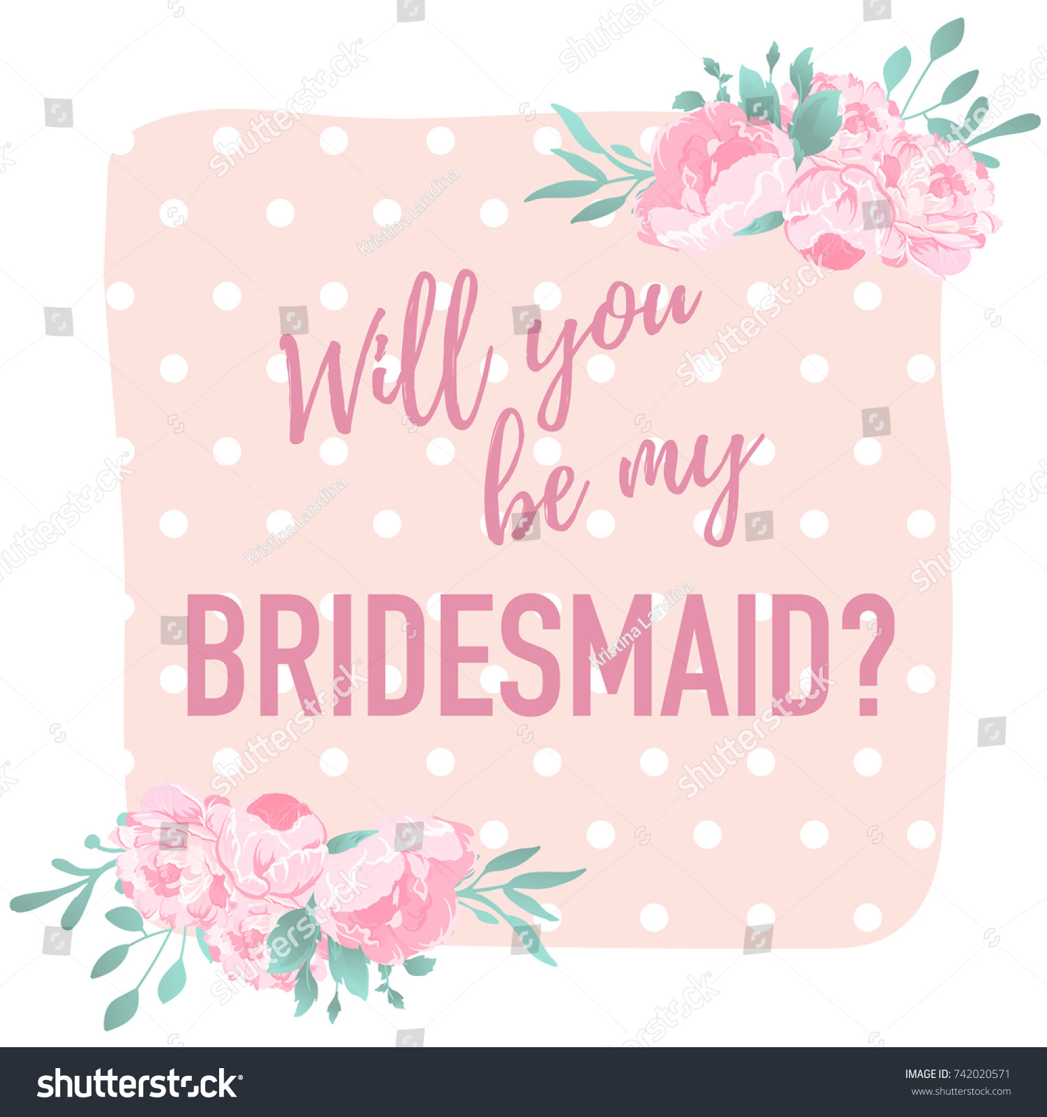 Will You Be My Bridesmaid Question Stock Vector Royalty Free