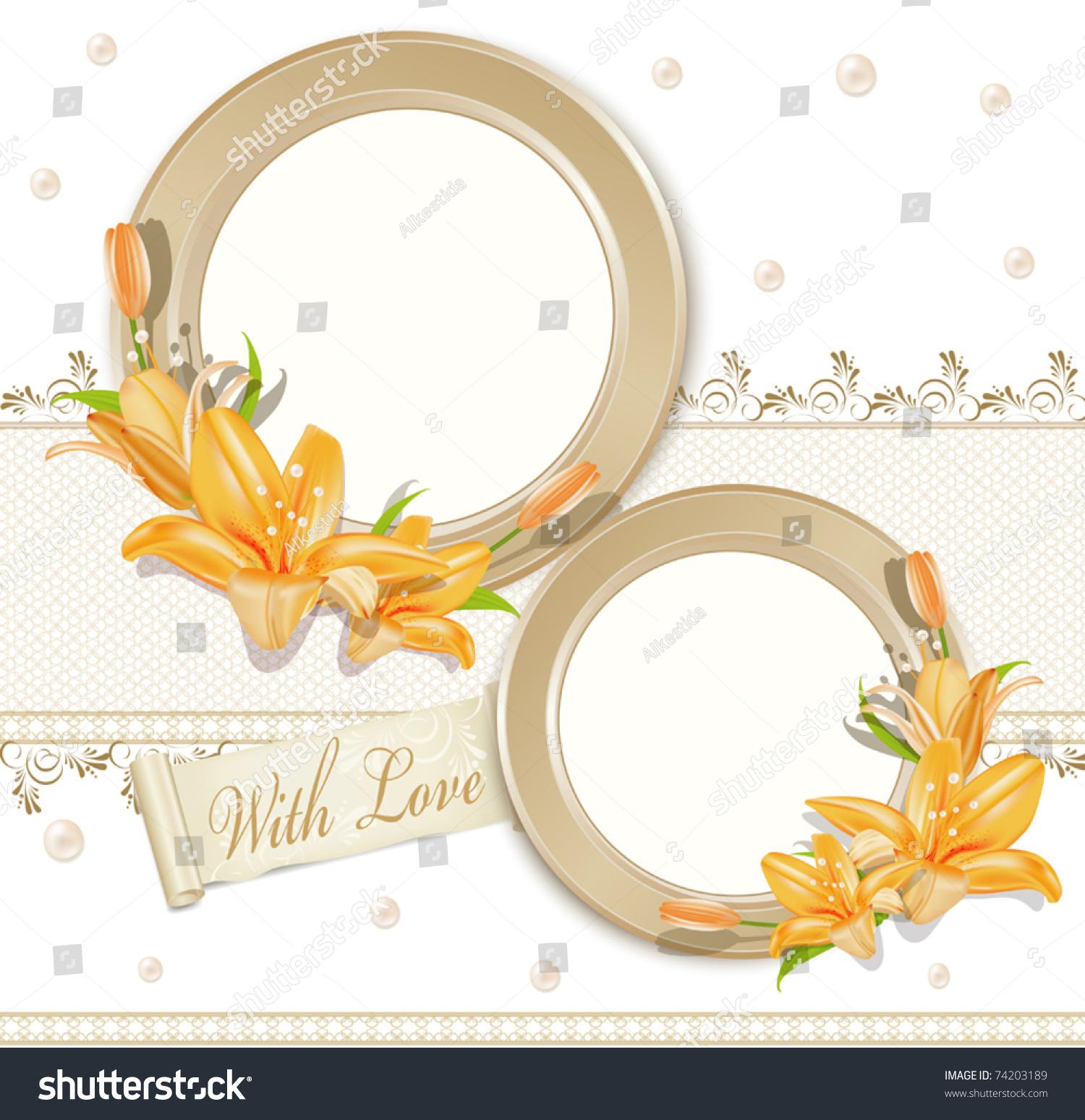 Vector Background Two Circular Photo Frames Stock Vector (Royalty ...