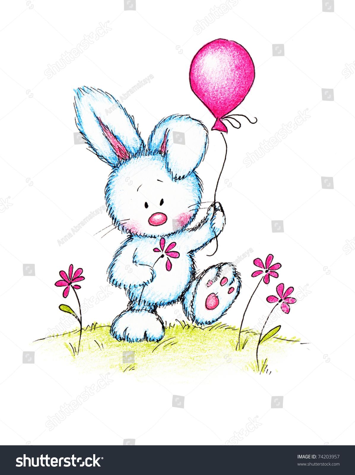 Открытка заяц с шариками