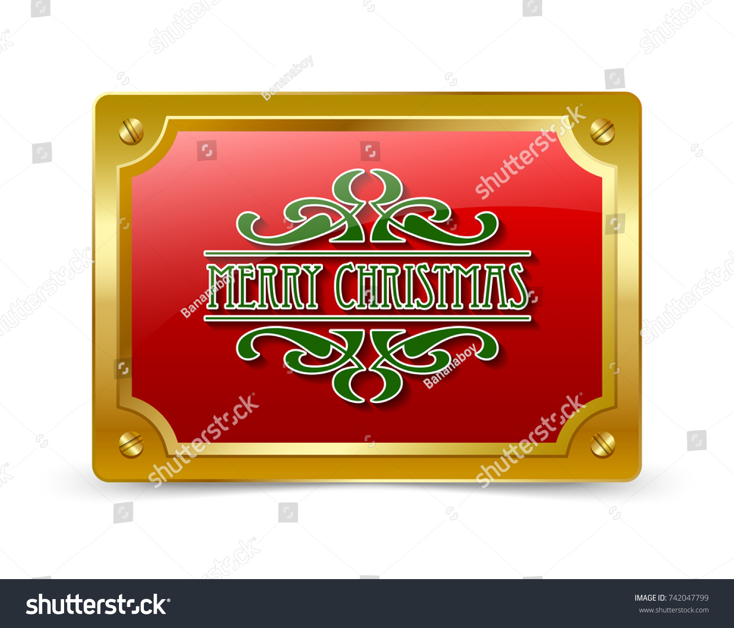 Old Fashioned Vintage Retro Merry Christmas Stock Vector 742047799 ...