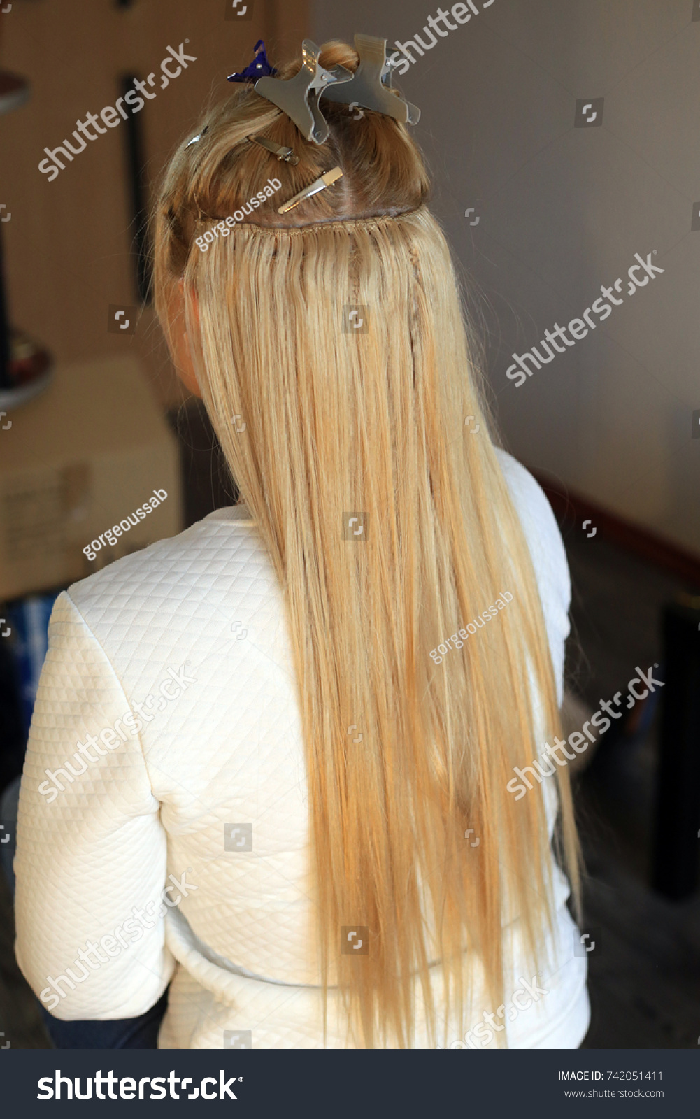 Hair Extensions Truss Sewing Hollywood Buildup Stock Photo Edit Now