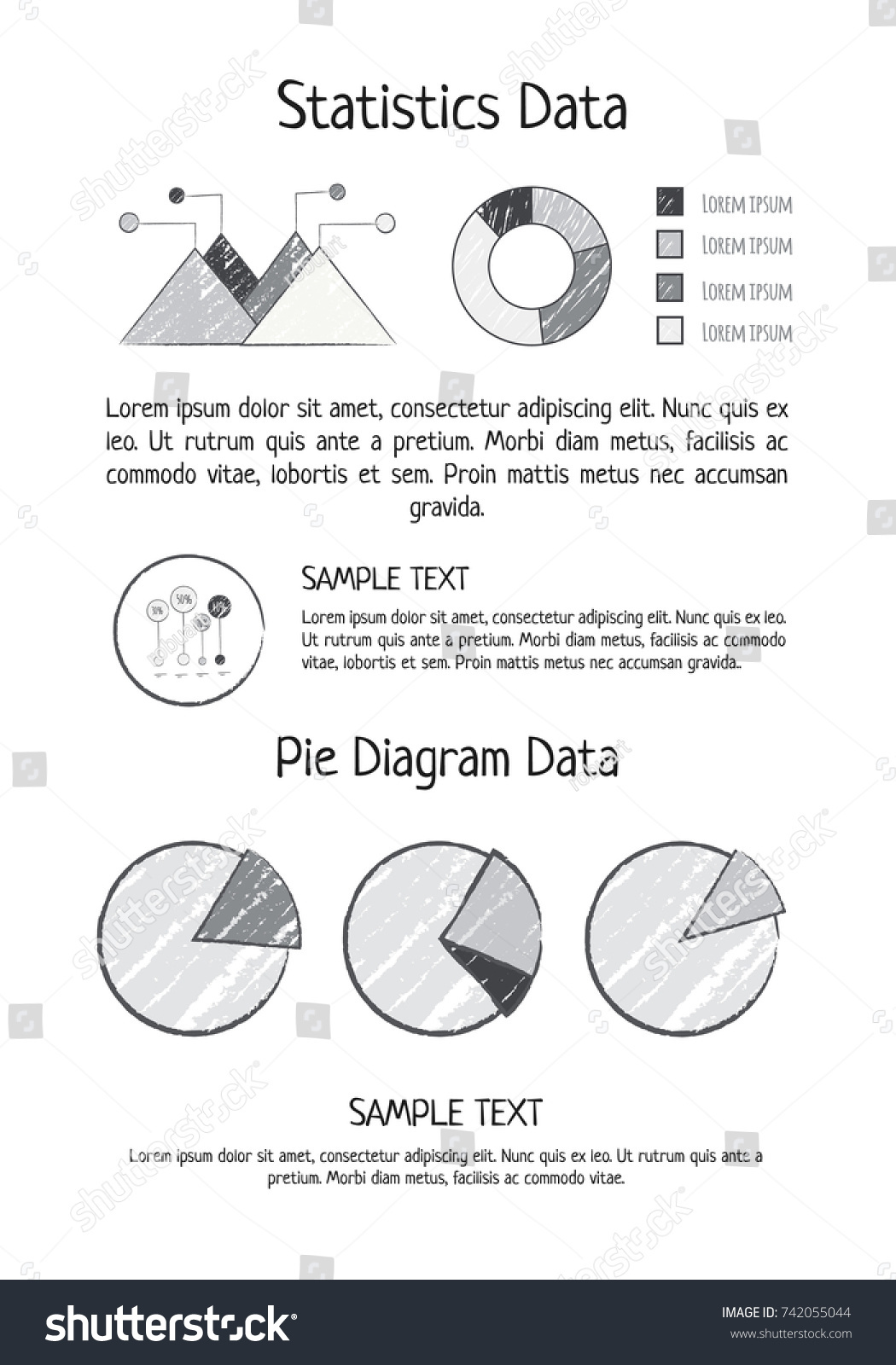Statistics data pie diagram visualization different stock vector statistics data and pie diagram visualization with different forms of representing data vector illustration with geenschuldenfo Choice Image