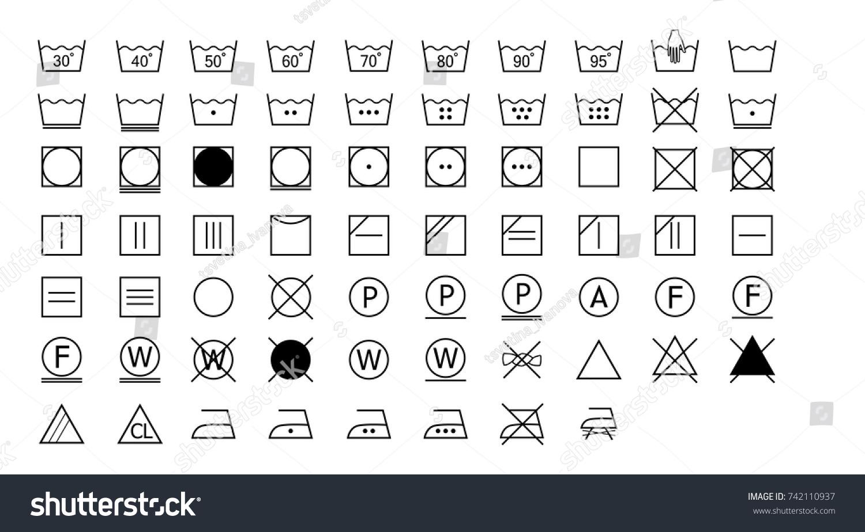 Full Set Laundry Washing Instruction Icons Stock Vector Royalty