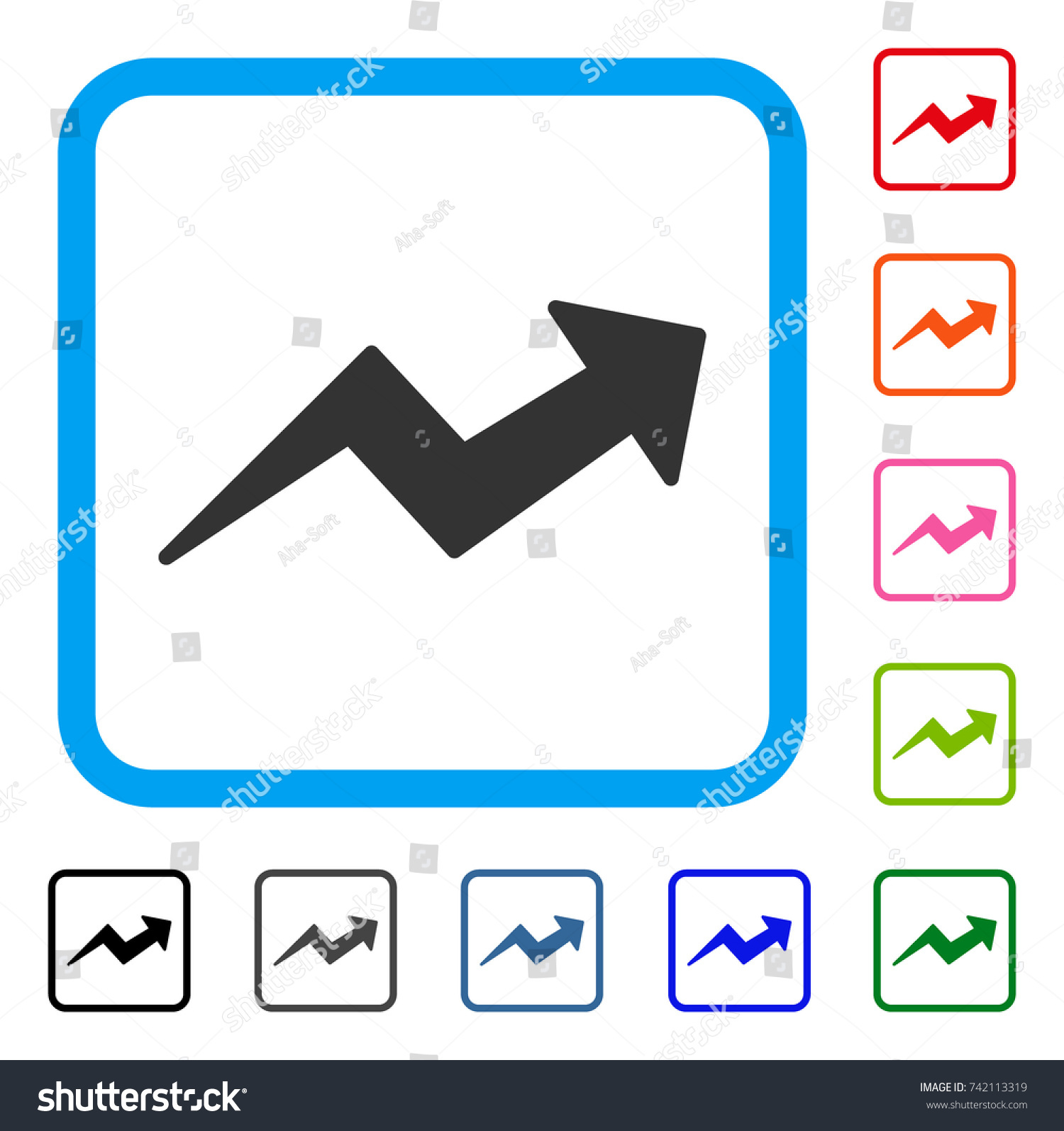 Trend arrow icon flat gray iconic stock vector 742113319 shutterstock trend up arrow icon flat gray iconic symbol in a light blue rounded square buycottarizona Choice Image