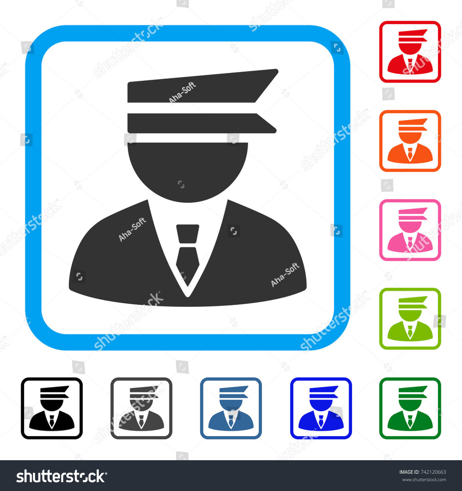 Police Officer Icon Flat Grey Pictogram Stock Vector 742120663