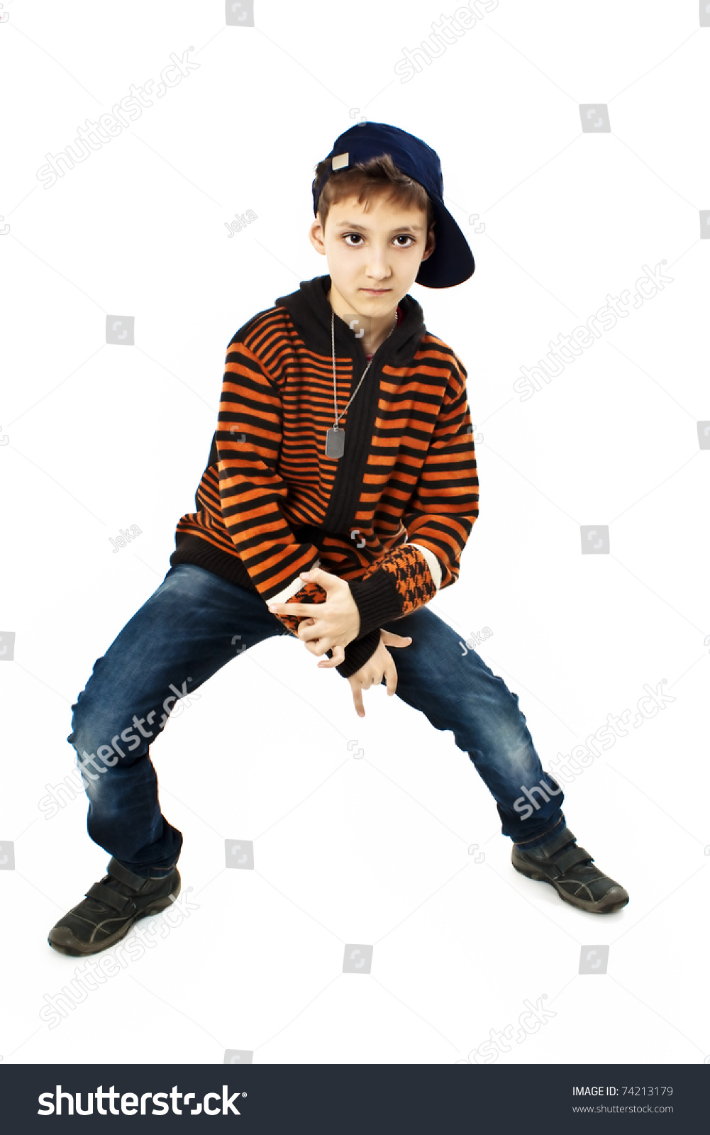 Little Cool Hip-Hop Boy In Dance. Studio Shoot Stock Photo ...