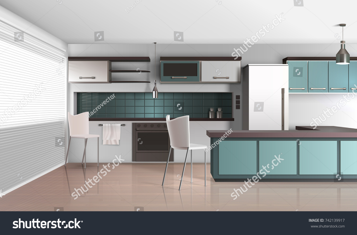 Modern Kitchen Interior Realistic Design Composition With Venetian Shutter  Blinds Laminated Flooring Fridge And Cooking Facilities