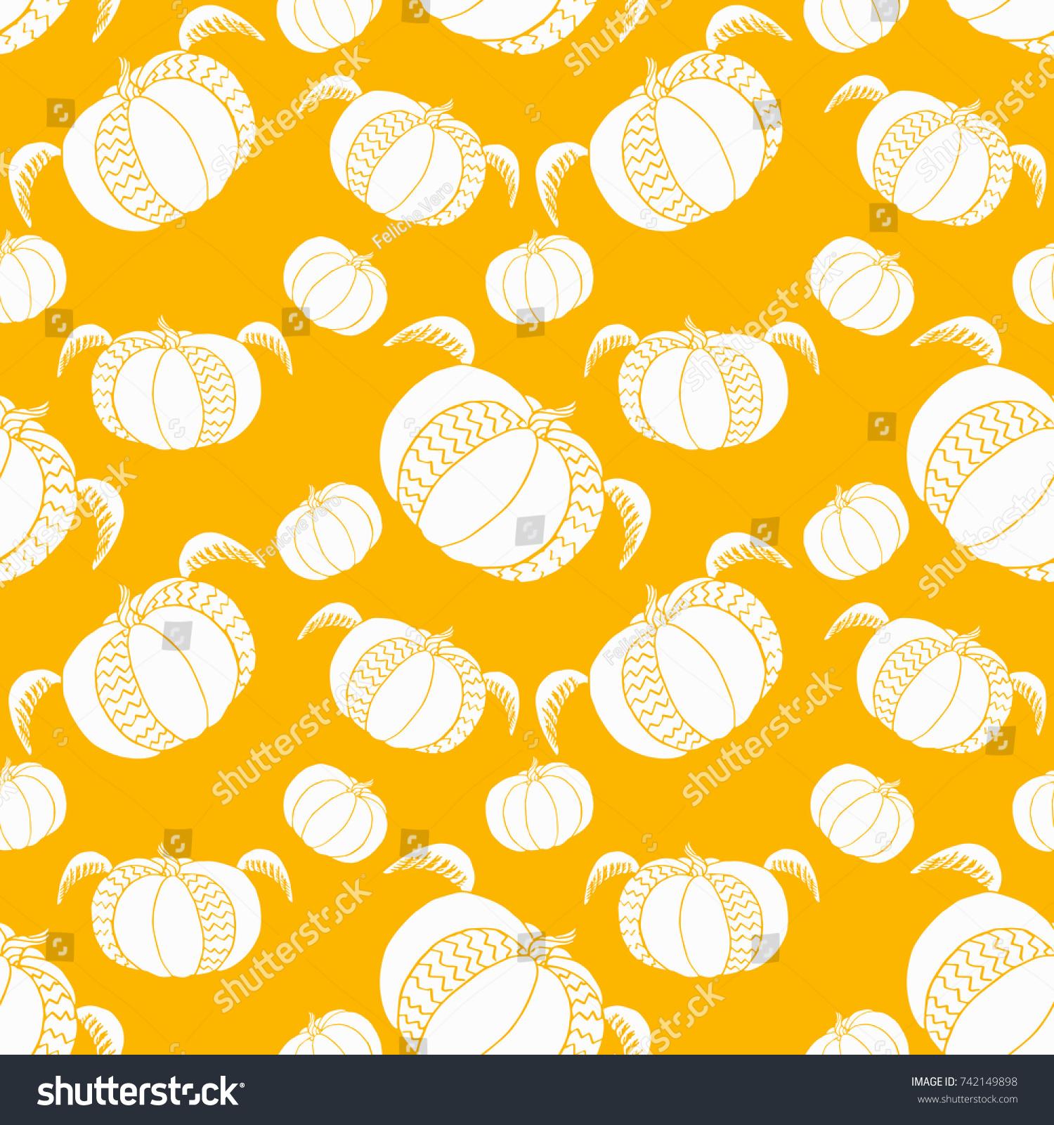 pumpkin seamless pattern cute fun halloween stock vector 742149898