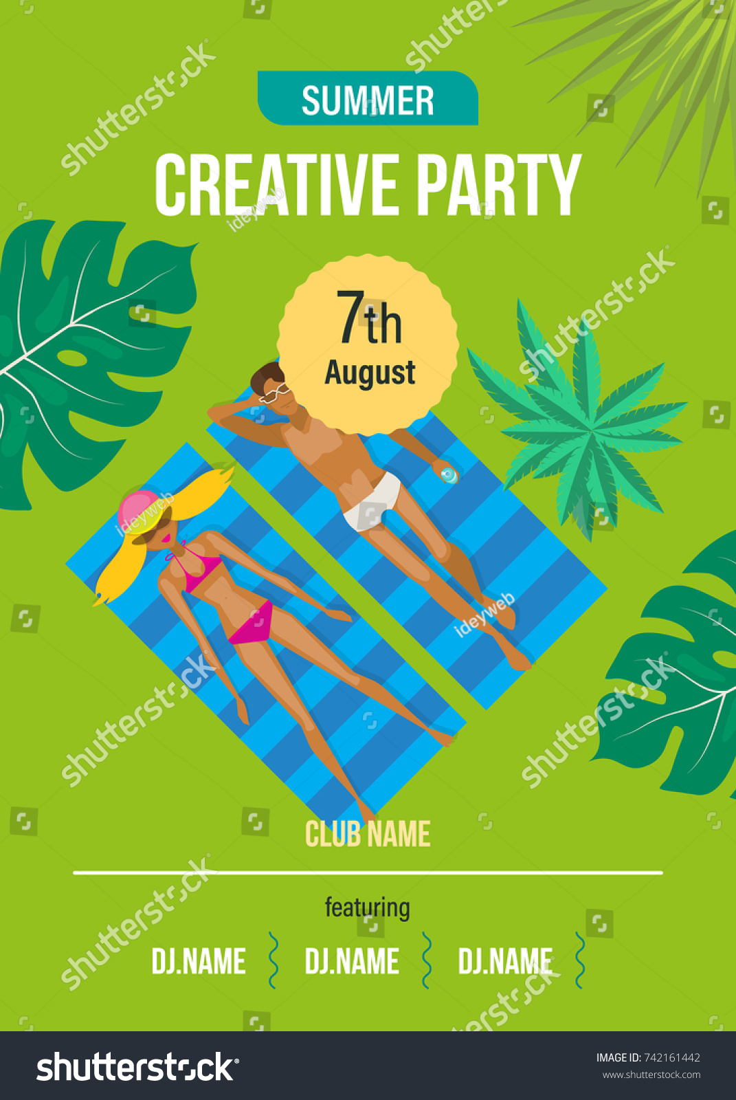 Beautiful Colorful Poster Flyer Banner Invitation To Party Summer Beach