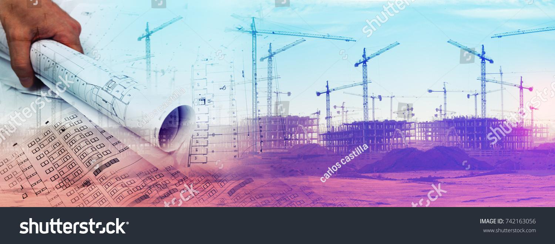 Architect blueprint concept engineering architecture design stock architect and blueprint concept engineering and architecture design backgroundhome construction project malvernweather Images