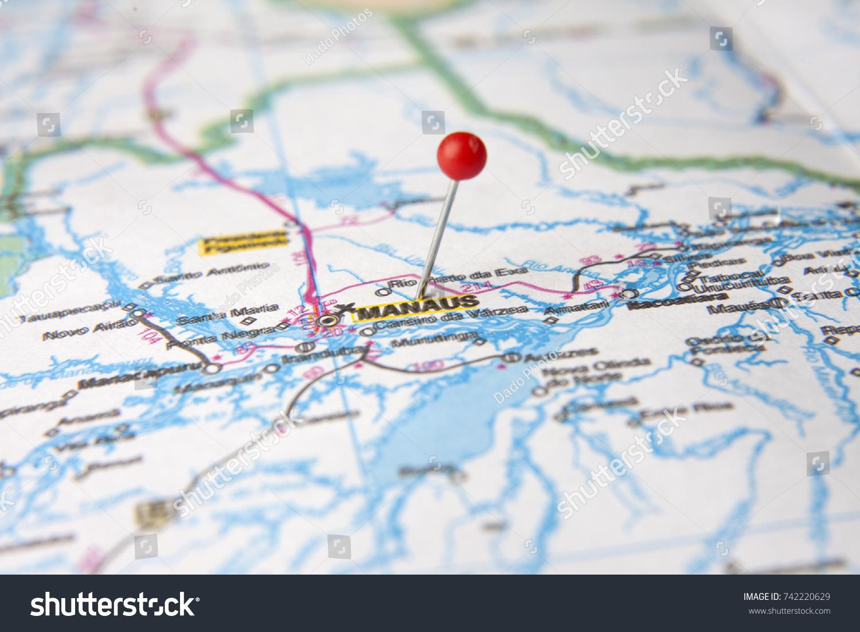 Brazilian Map Close Up City Manaus Stock Photo (Edit Now) 742220629 ...