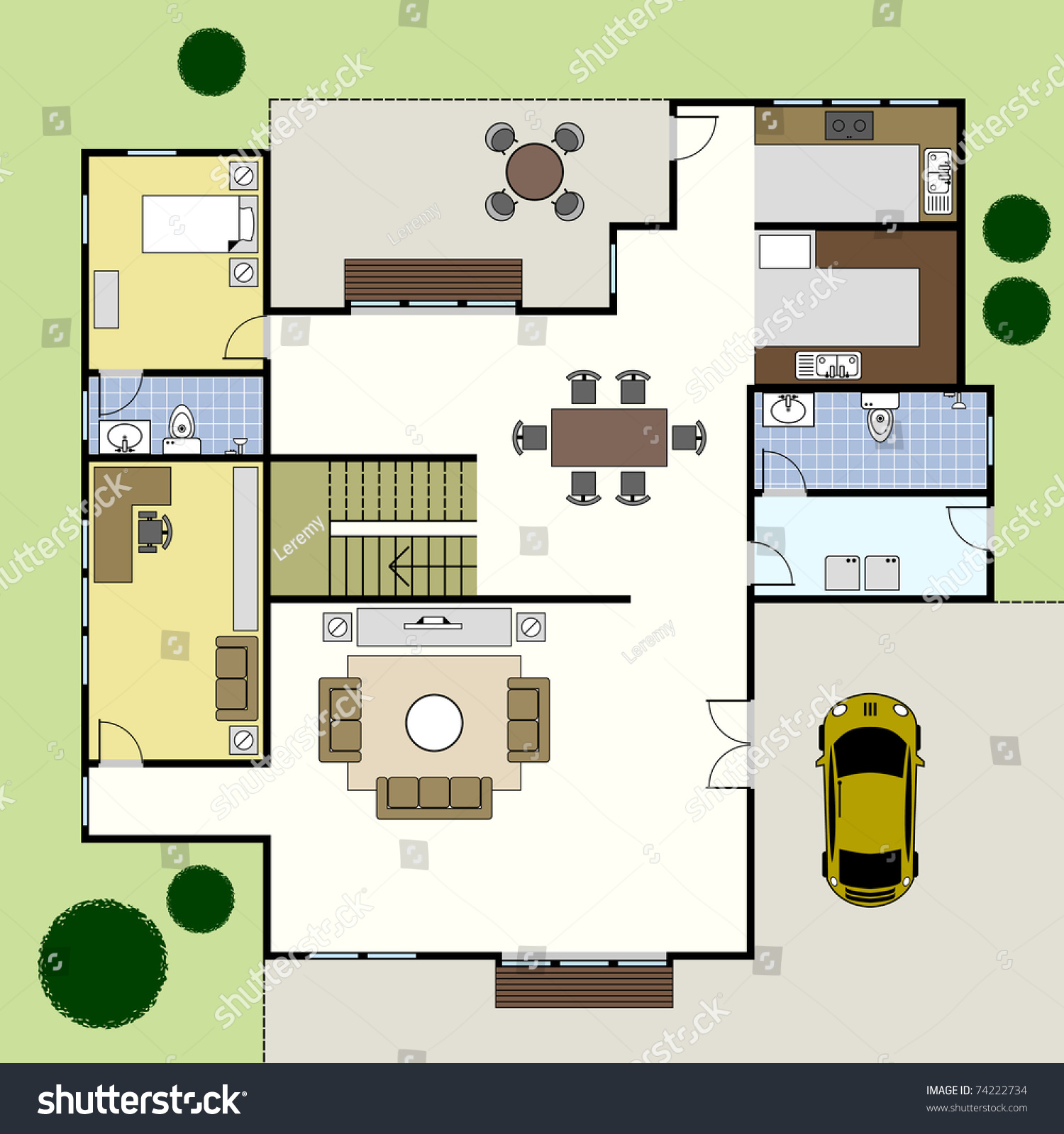 Ground floor plan floorplan house home stock vector 74222734 shutterstock - Lay outs grond helling ...