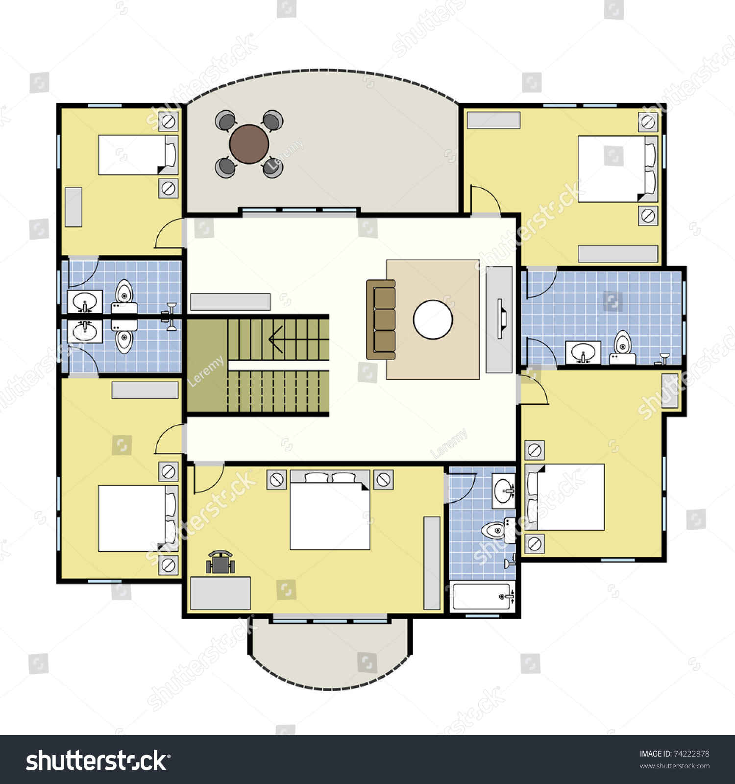 First second floor plan floorplan house stock vector for Stock floor plans