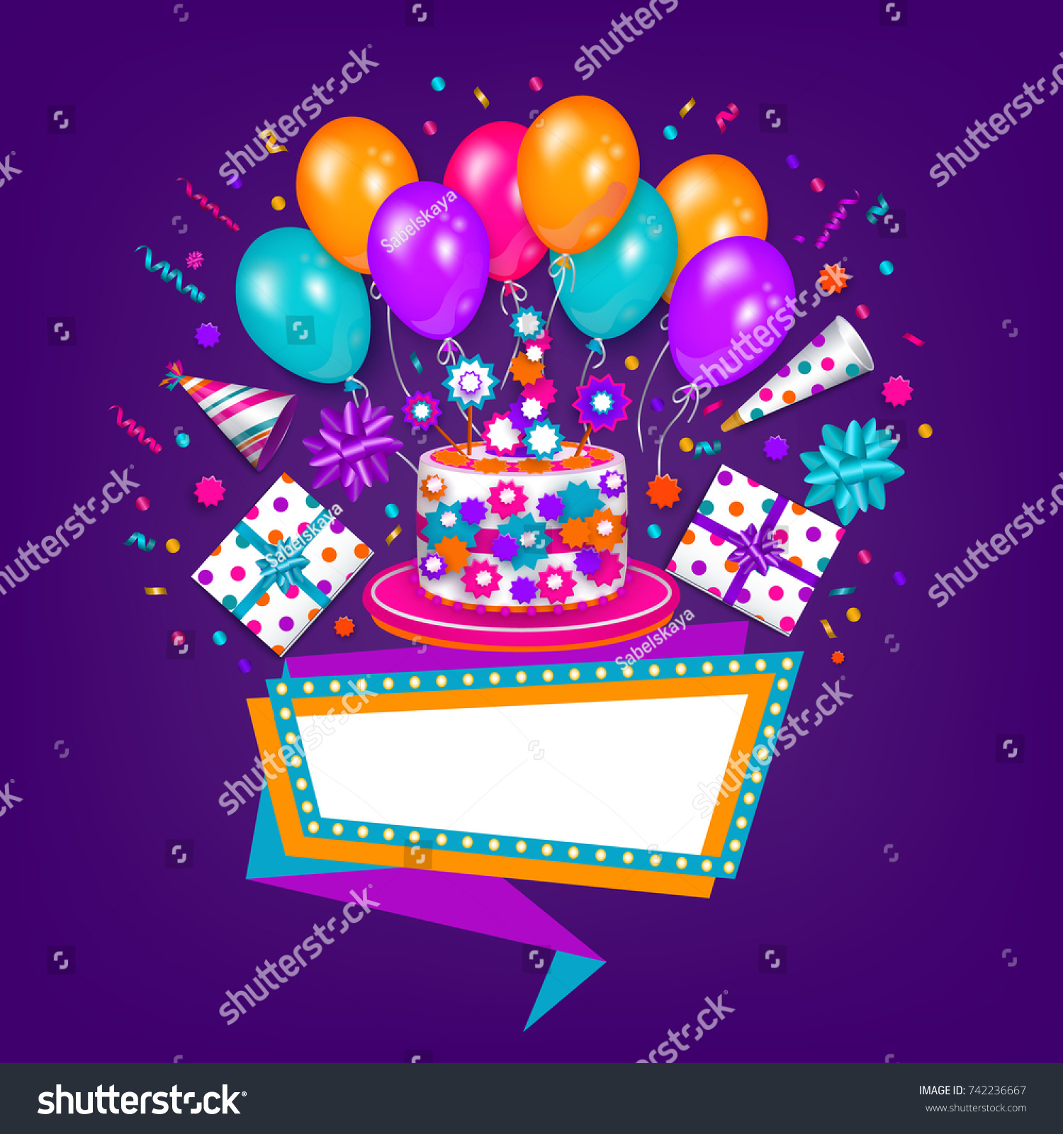 Happy Birthday Greeting Card Poster Design Stock Vector
