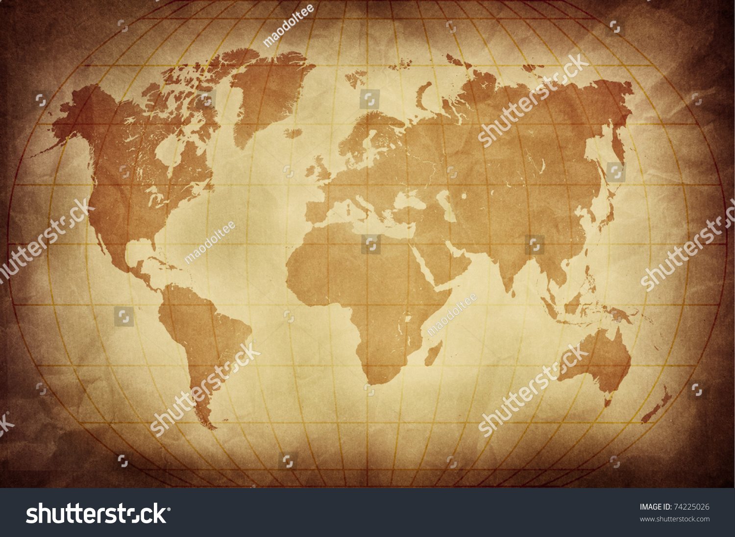 Retro World Map Stock Illustration Royalty Free Stock Illustration
