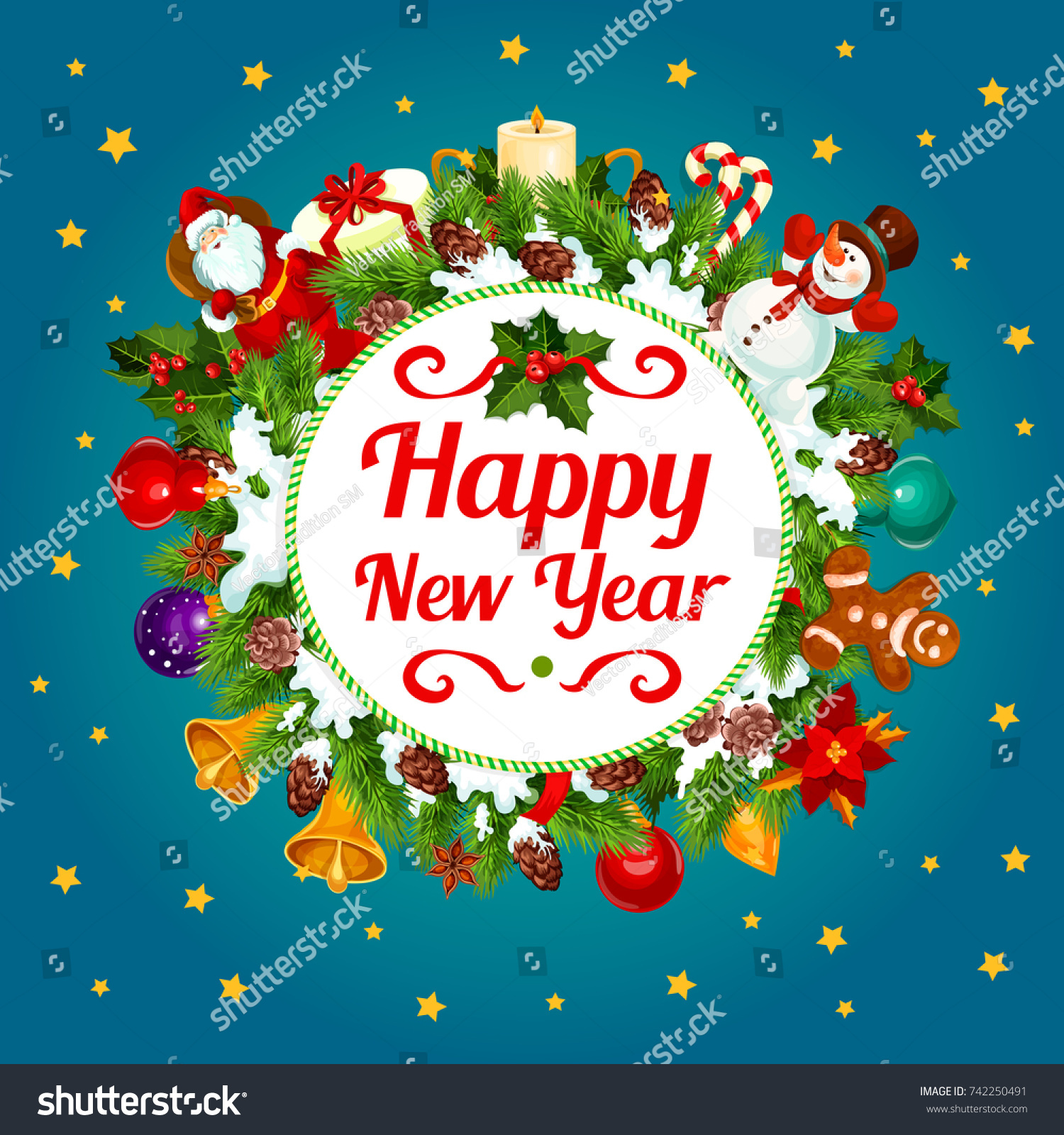 Happy New Year Greeting Card Design Stock Vector 742250491 ...