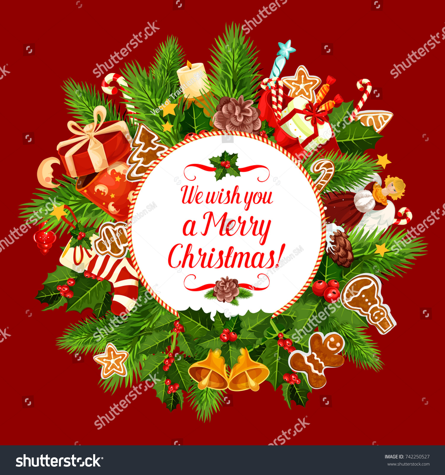 merry christmas greeting card design for happy holidays wishes or new year winter season celebration