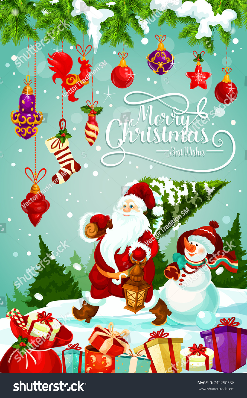 Merry Christmas Greeting Card Design Santa Stock Vector Royalty