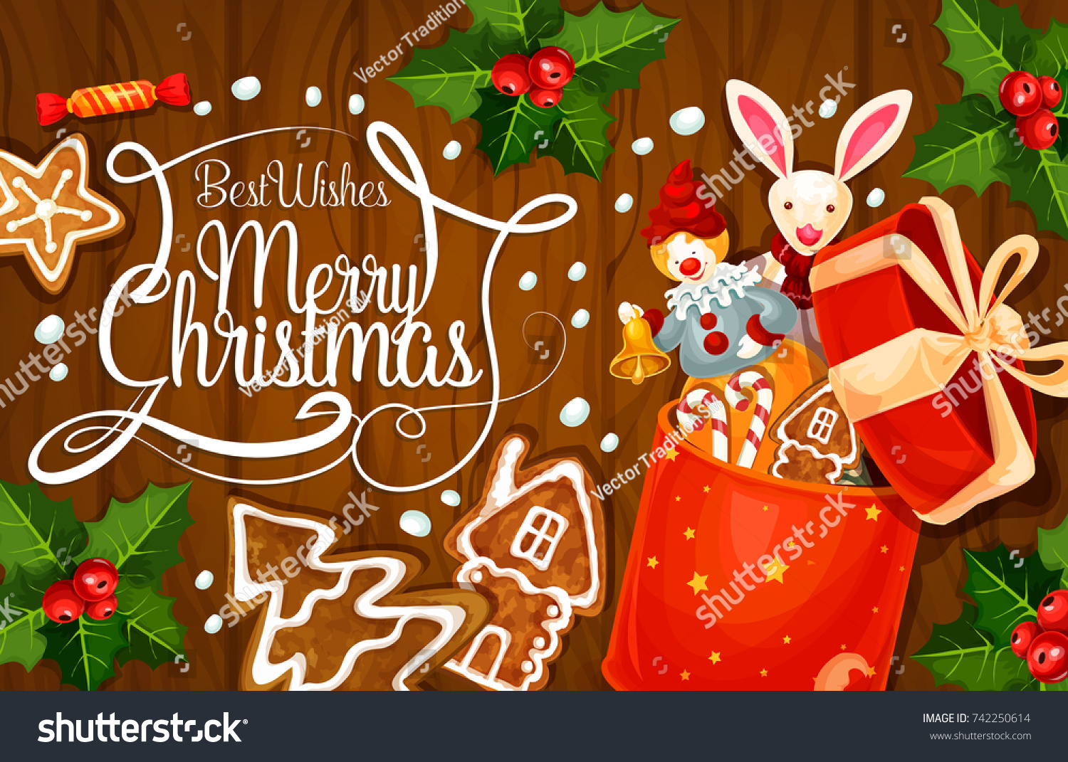 Merry Christmas Greeting Card Design Happy Stock Vector 742250614