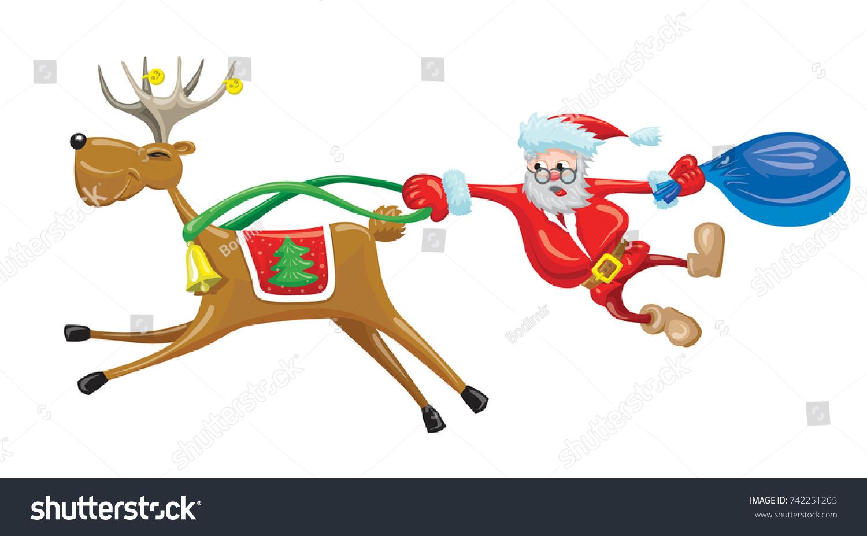 Scared Santa Hanging Behind Reindeer Which Stock Vector Royalty