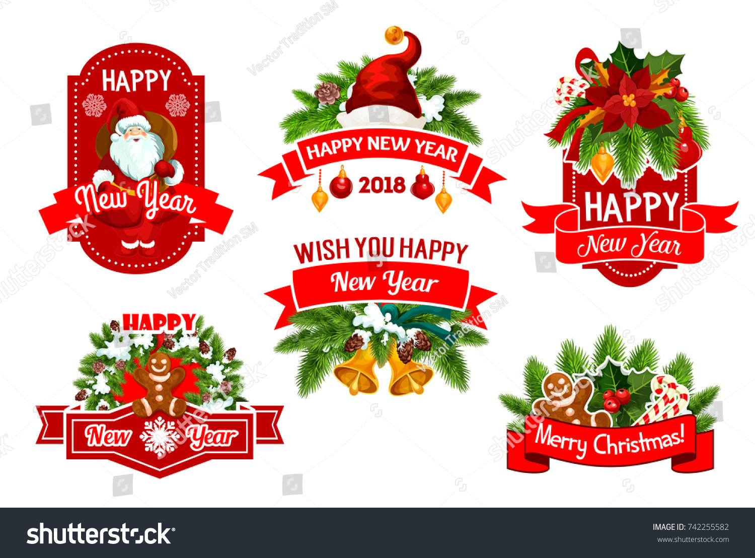 Merry christmas happy new year 2018 stock vector royalty free merry christmas and happy new year 2018 winter holidays greeting wish icons vector set of m4hsunfo