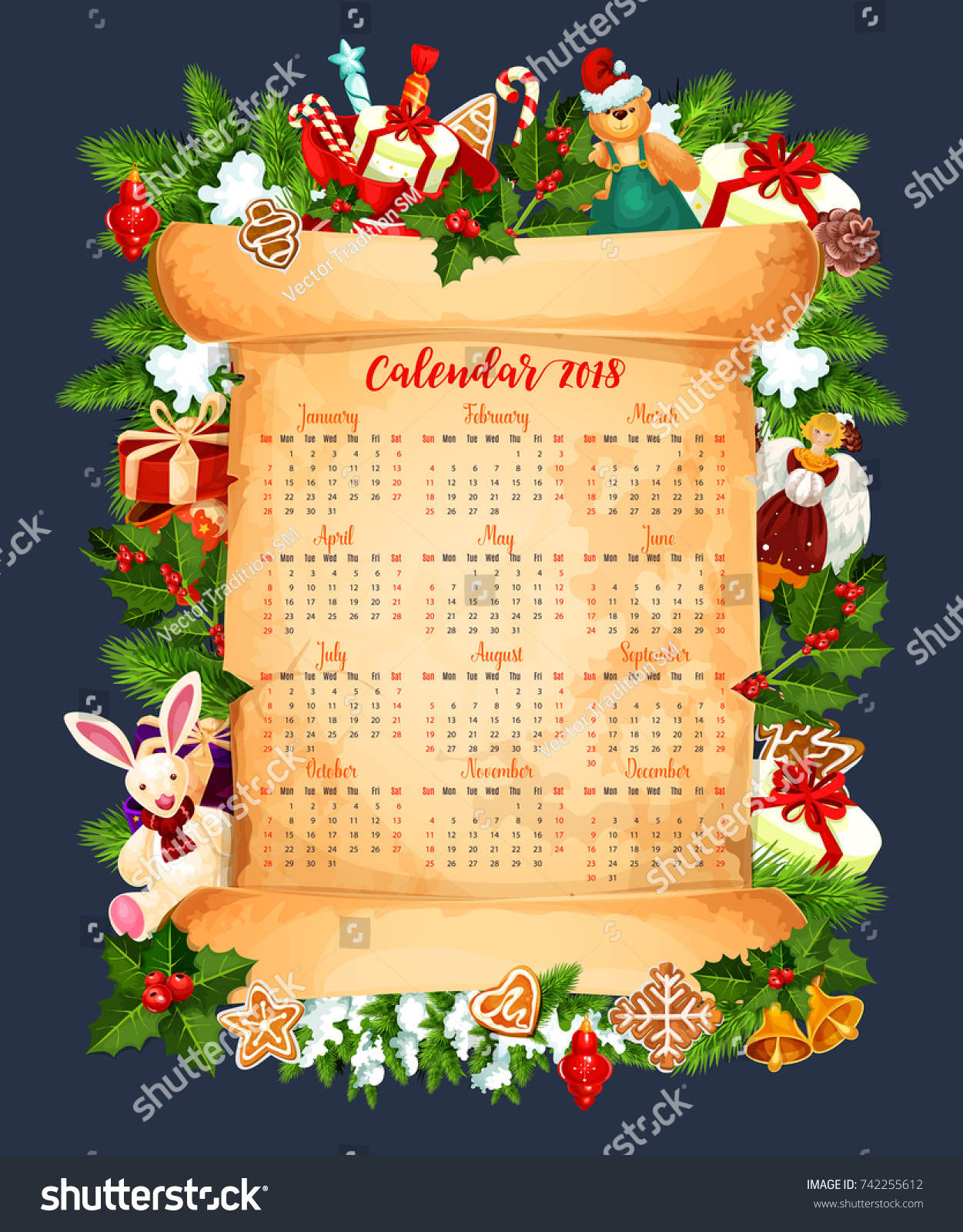 2018 calendar template design christmas tree stock vector for Angel tree decoration template
