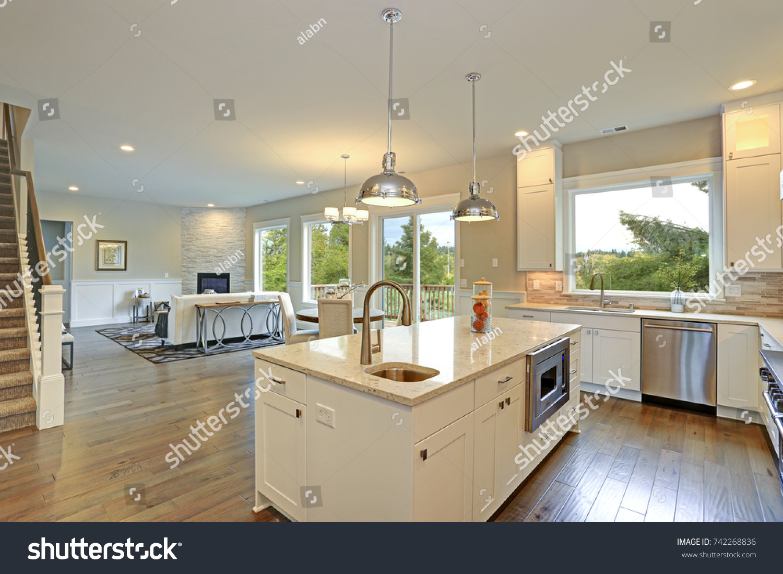 Amazing Kitchen Design White Shaker Cabinets Stock Photo Edit Now 742268836