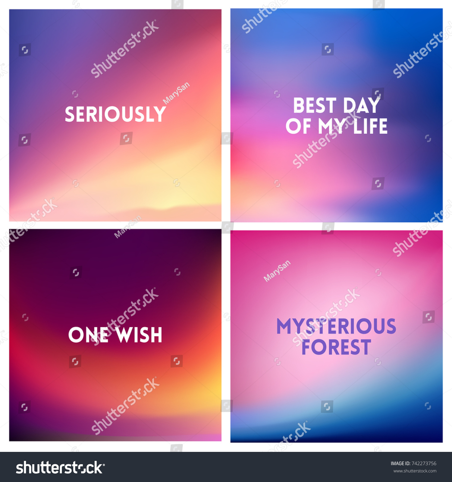 abstract vector multicolored blurred background set stock photo