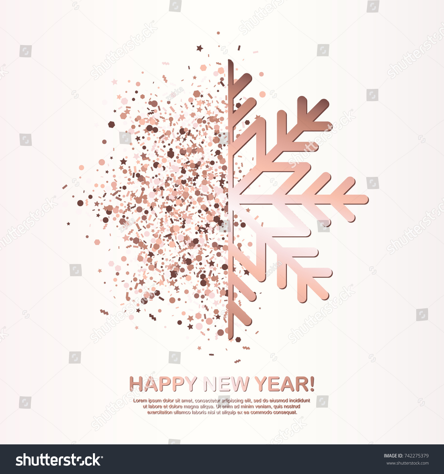Happy New Year Greeting Card Rose Stock Vector (Royalty Free ...