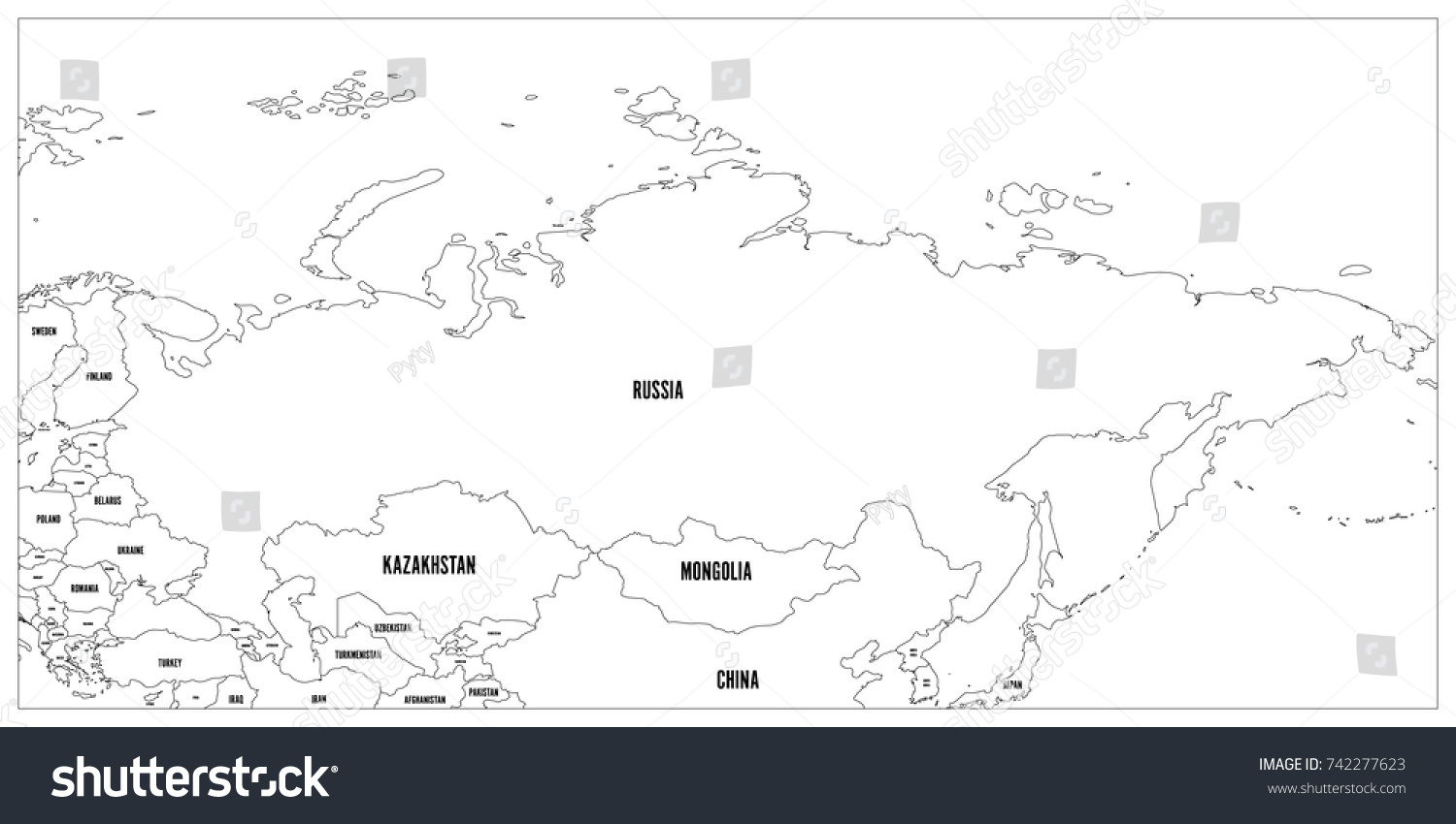 Political Map Russia Surrounding Countries Black Stock Vector