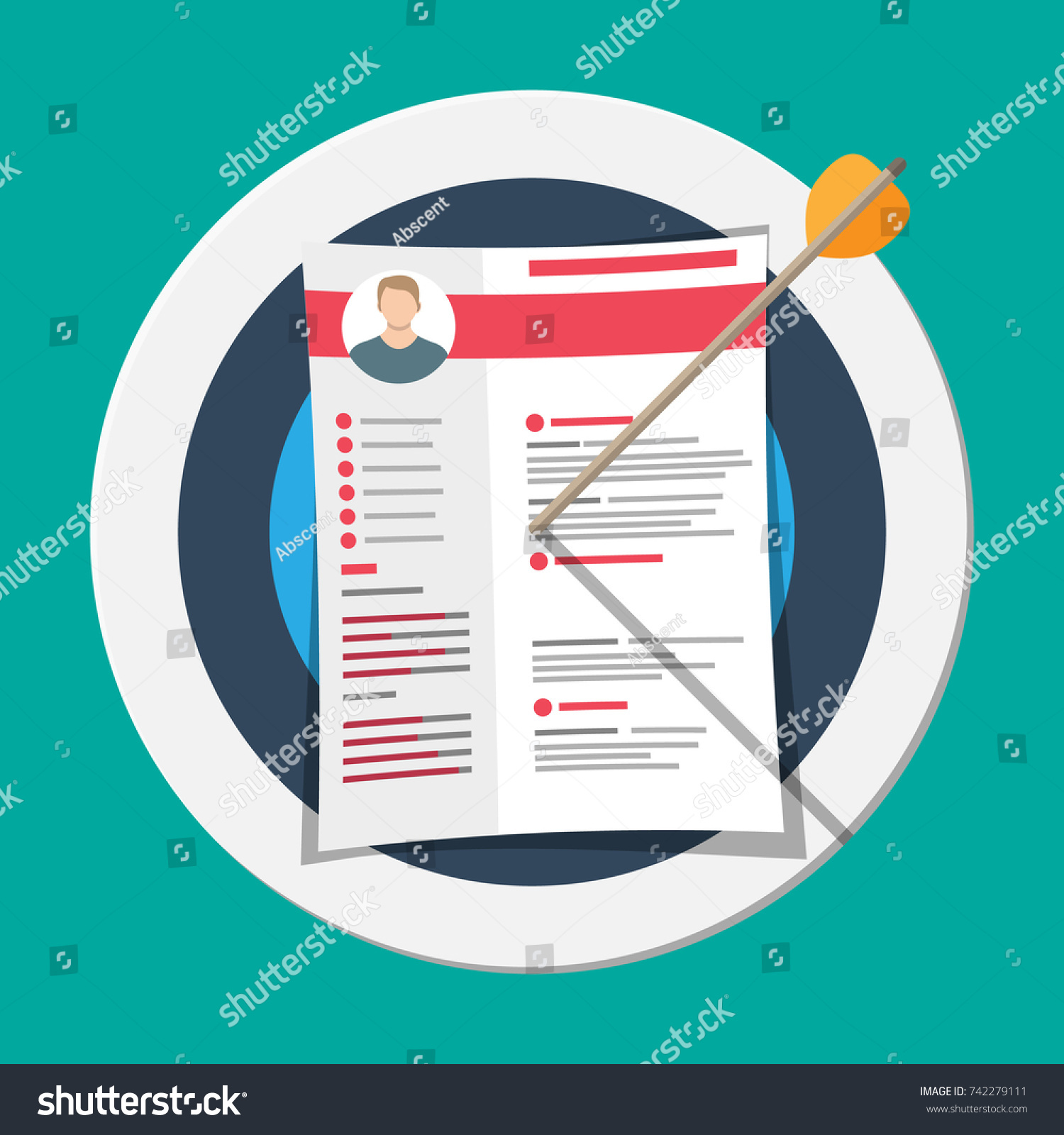 cv resume documents pinned target human stock vector 742279111