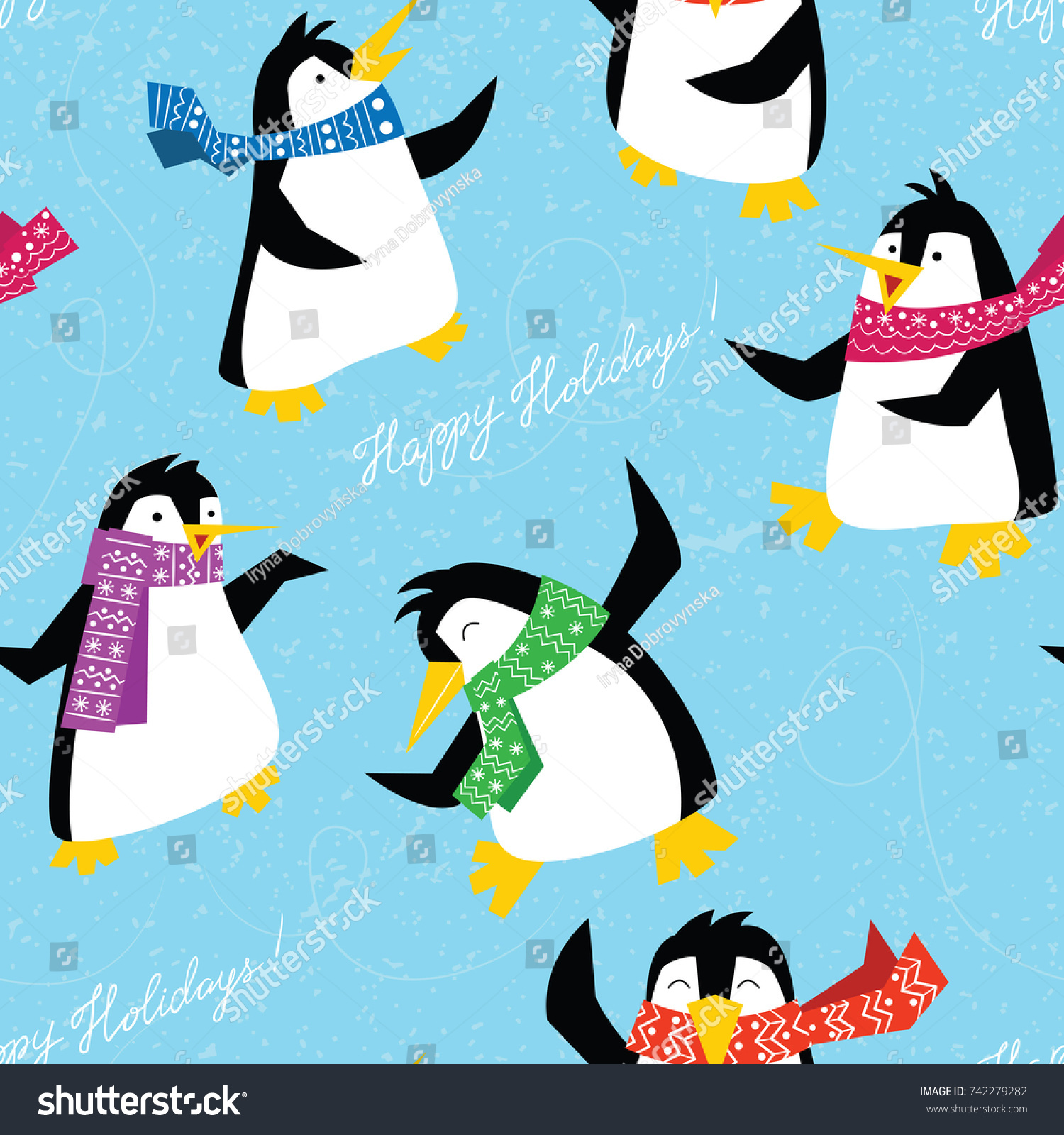 Xmas Penguins In A Bright Scarfs Dancing On Ice Floe Seamless Pattern Winter Cute Animals