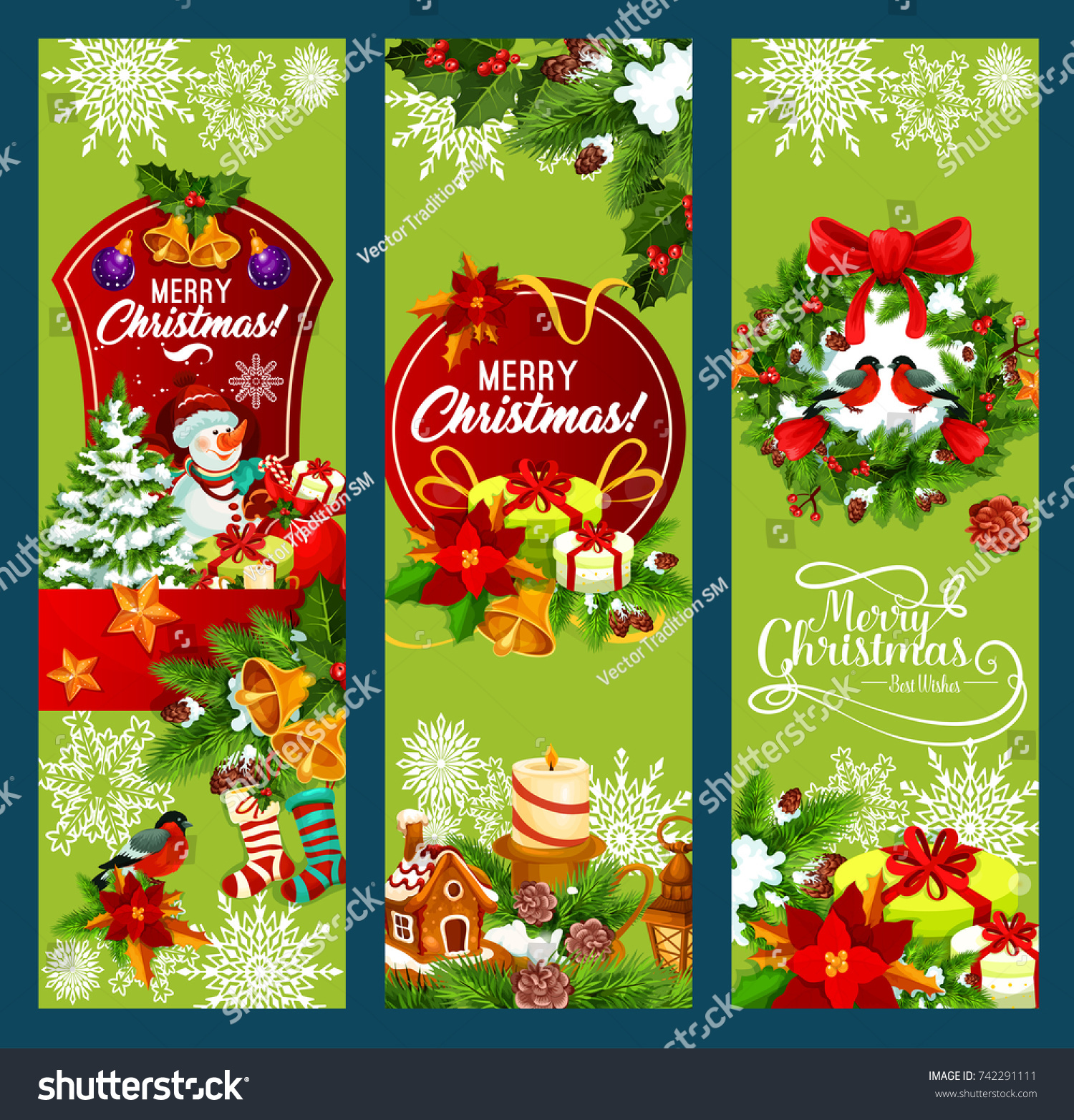 Merry christmas holiday greeting banners design stock vector merry christmas holiday greeting banners design vector santa gift bag and snowman stockings and kristyandbryce Gallery