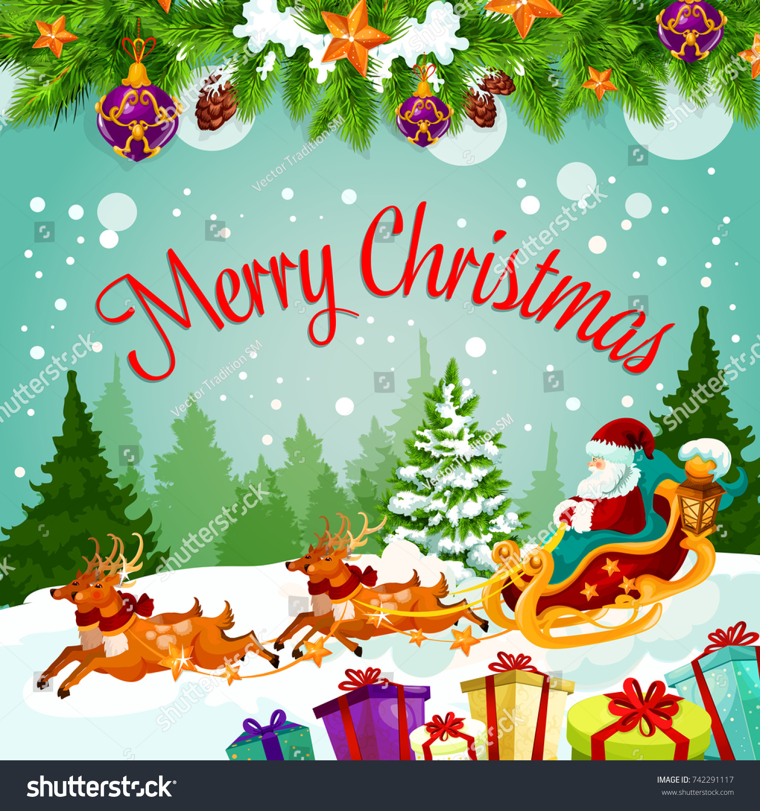 Merry christmas greeting card santa on stock vector 2018 742291117 merry christmas greeting card of santa on reindeer sleigh with gifts bag vector christmas tree m4hsunfo Gallery